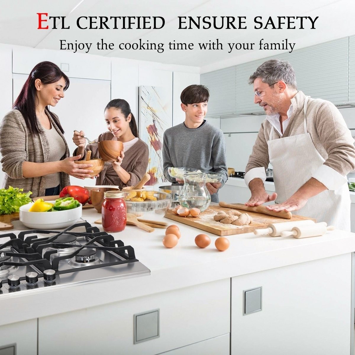 Thermocouple Protection /& Easy To Clean ETL Safety Certified Gas Cooktop Tempered Glass LPG Natural Gas Cooktop Gas Stove Top with 5 Sealed Burners Gasland chef GH90BF 36 Built-in Gas Stove Top