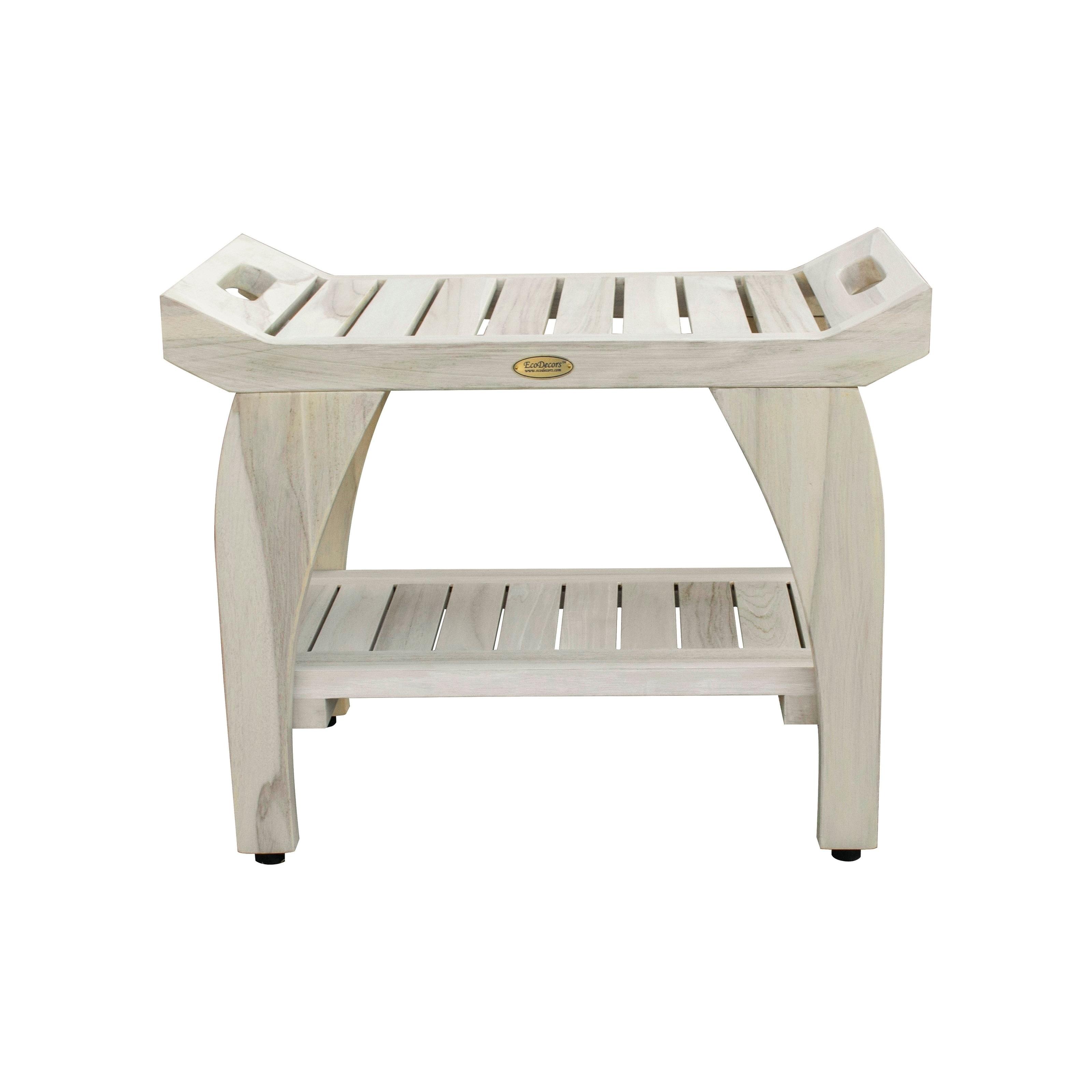 24 Coastalvogue Liftaide Tranquility Teak Shower Bench With Shelf Coastal Driftwood Overstock 28300989