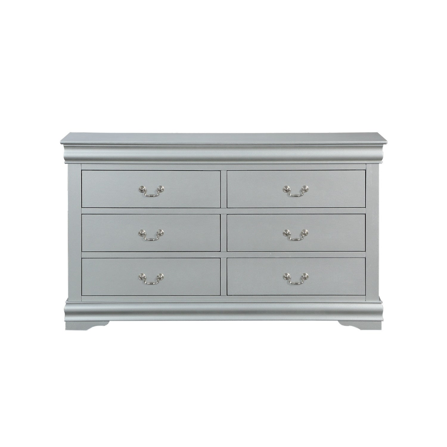 Six Drawers Wooden Dresser With Metal Handles And Bracket Base Gray