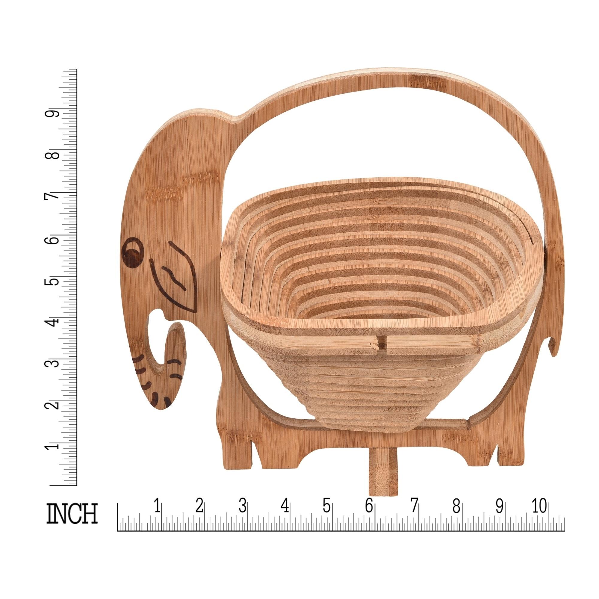 Handmade Unique Bamboo Wooden Elephant Folding Fruit Bowl Or Basket Thailand