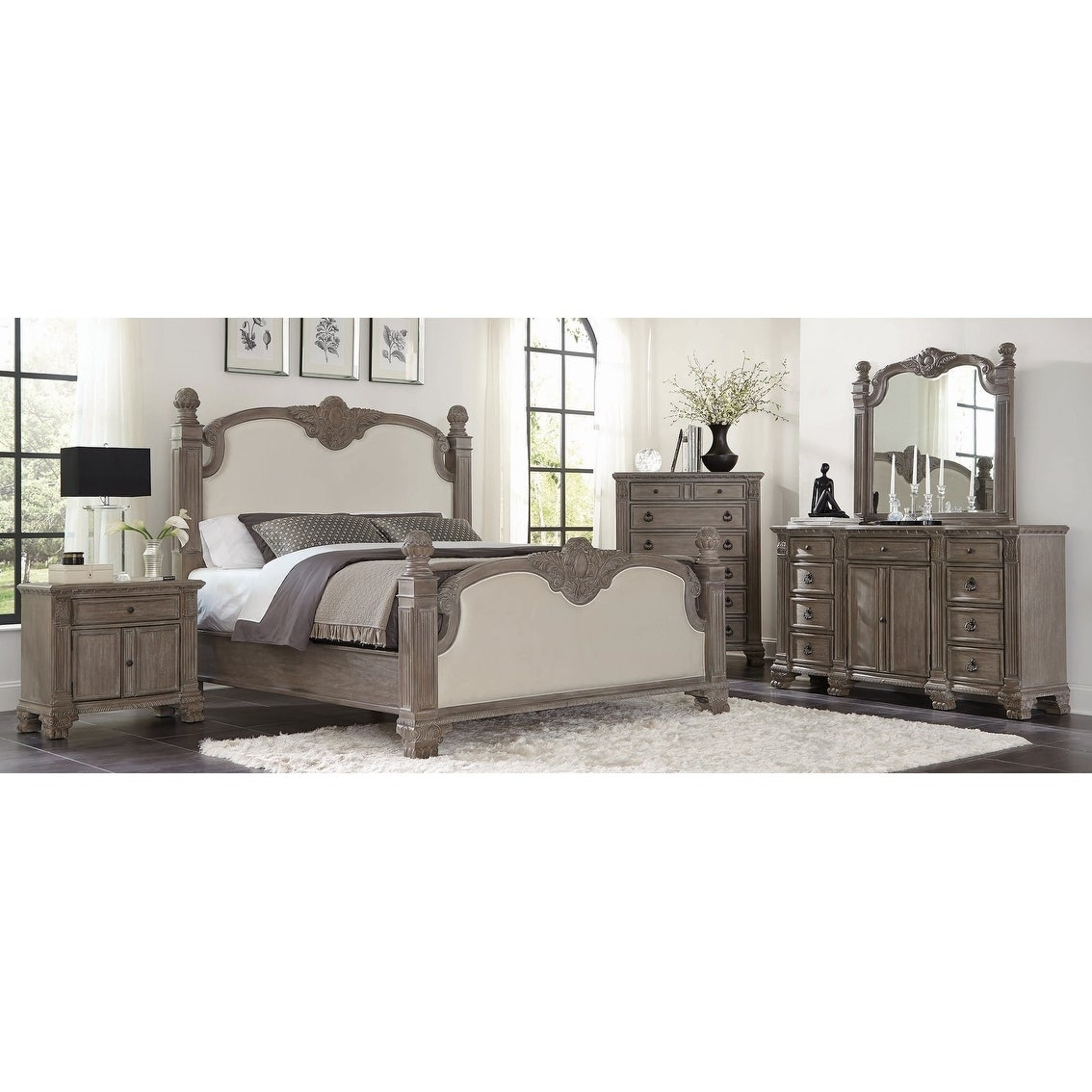 Colby Ivory and Vintage Grey 3-piece Panel Bedroom Set with Chest
