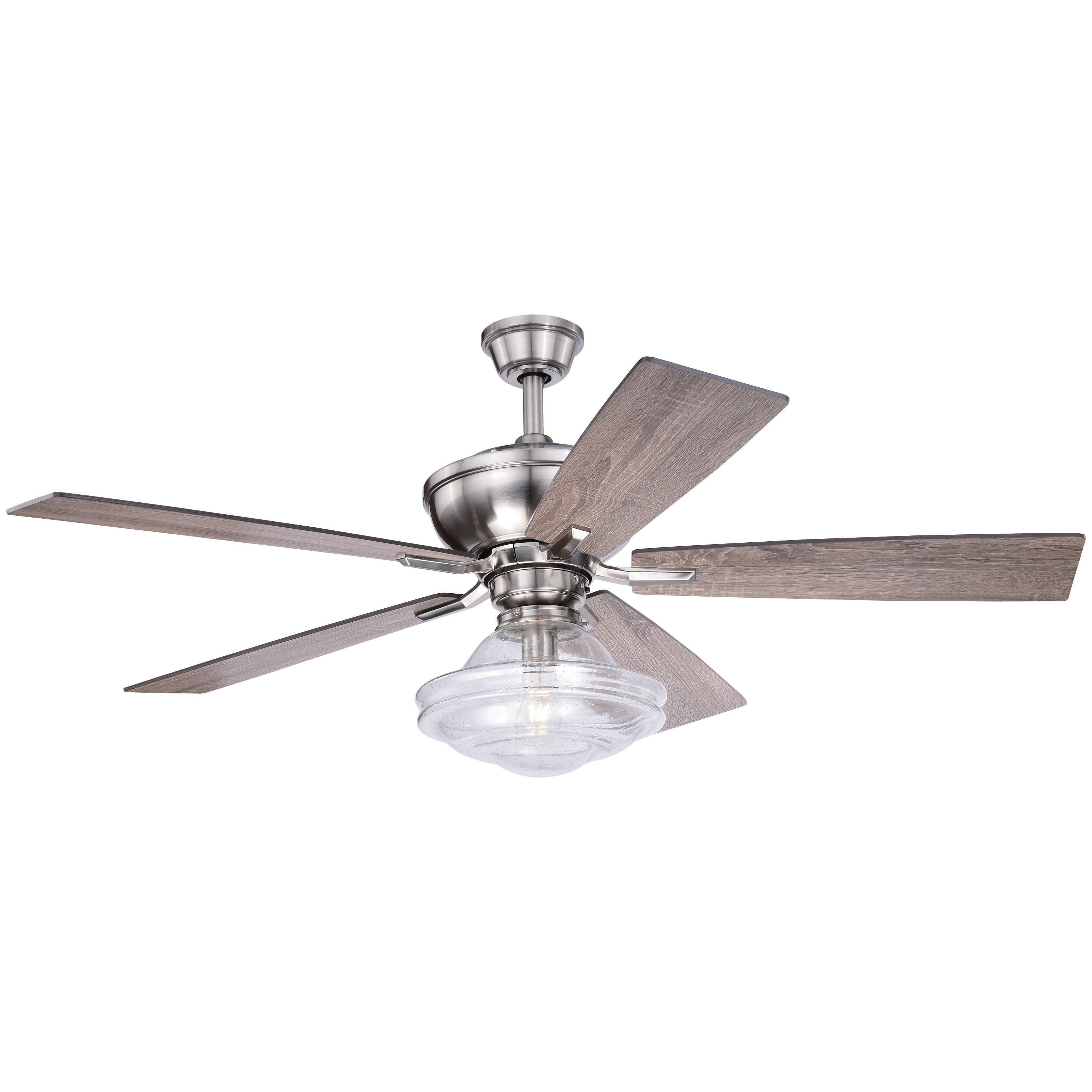 Shop Huntley 52 In Satin Nickel Farmhouse Indoor Ceiling Fan With Schoolhouse Led Light Kit And Remote Overstock 28377791
