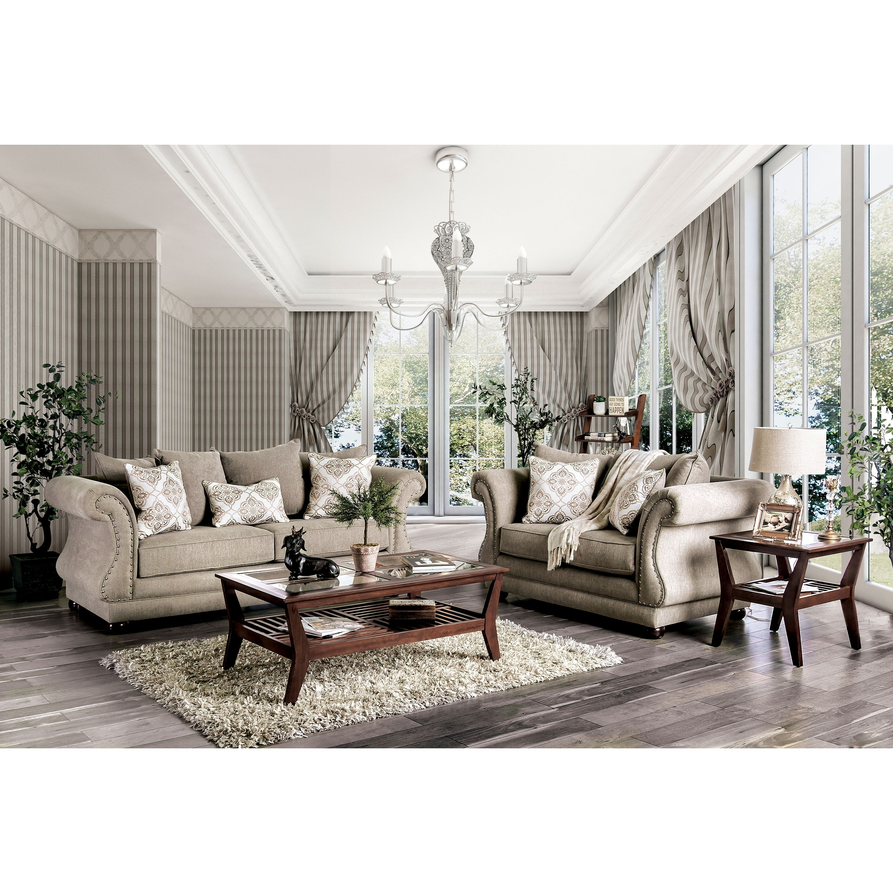Shop nariah traditional grey 2 piece nailhead living room set by foa free shipping today overstock 28408363