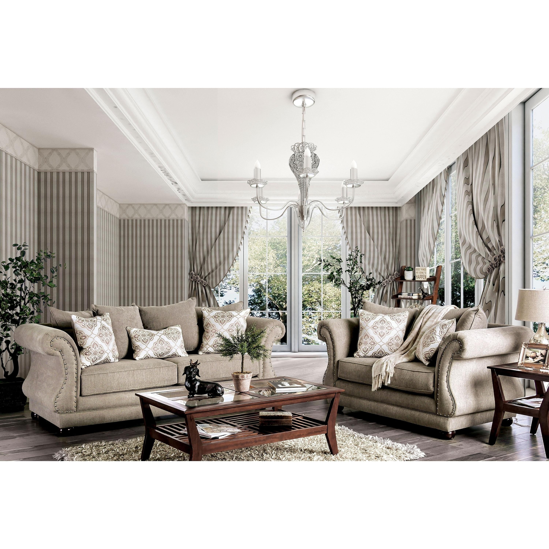 Nariah traditional grey 2 piece nailhead living room set by foa