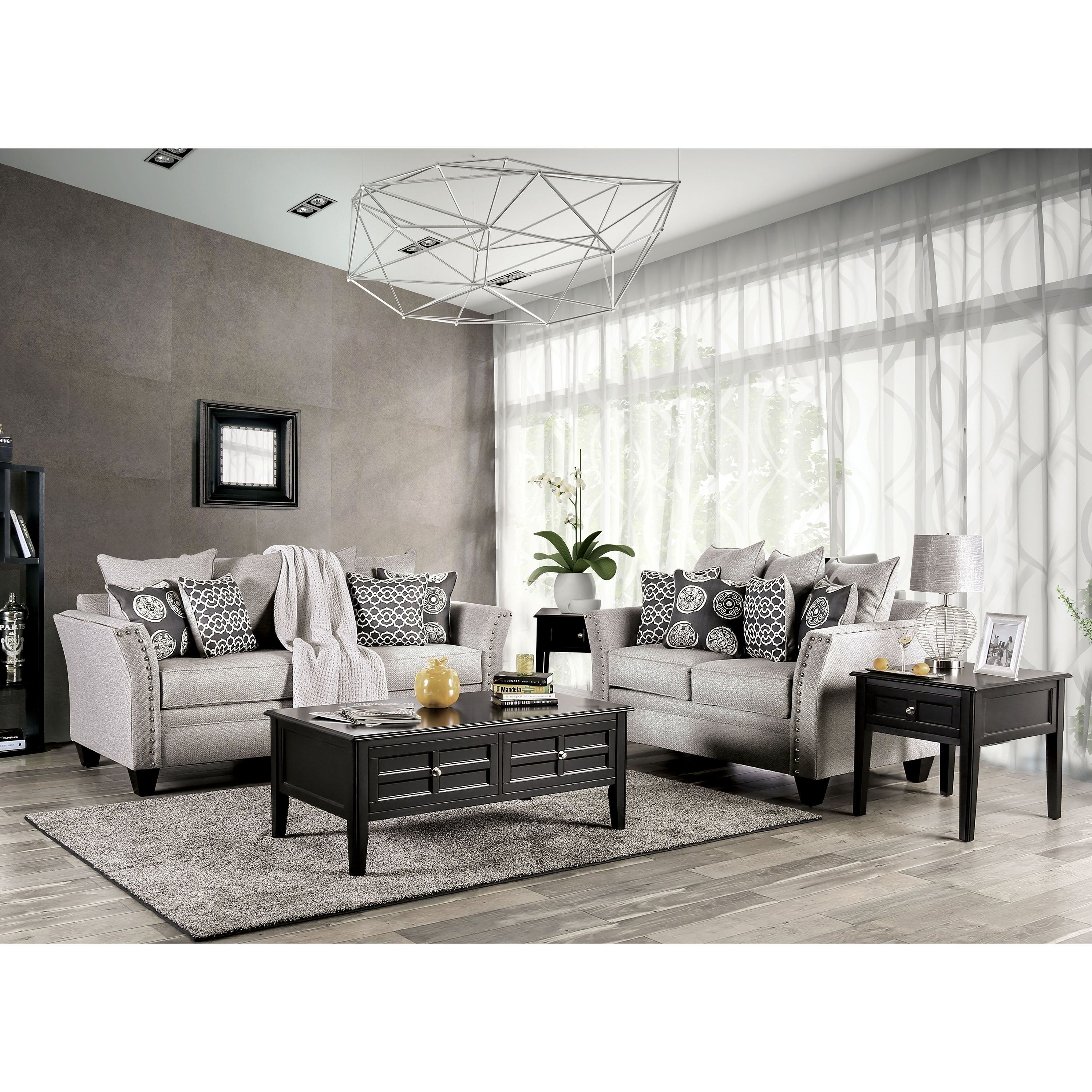 Shop lawanda contemporary grey 2 piece nailhead living room set by foa free shipping today overstock 28408384