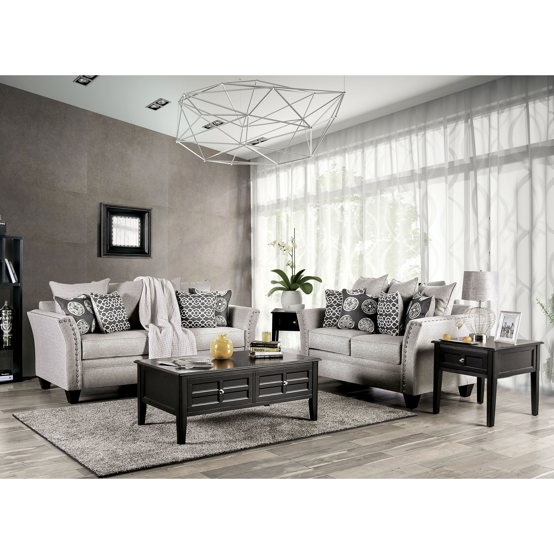 Shop lawanda contemporary grey 2 piece nailhead living room set by foa free shipping today overstock 28408384