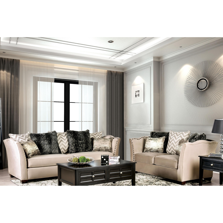 Lawanda contemporary beige 2 piece nailhead living room set by foa