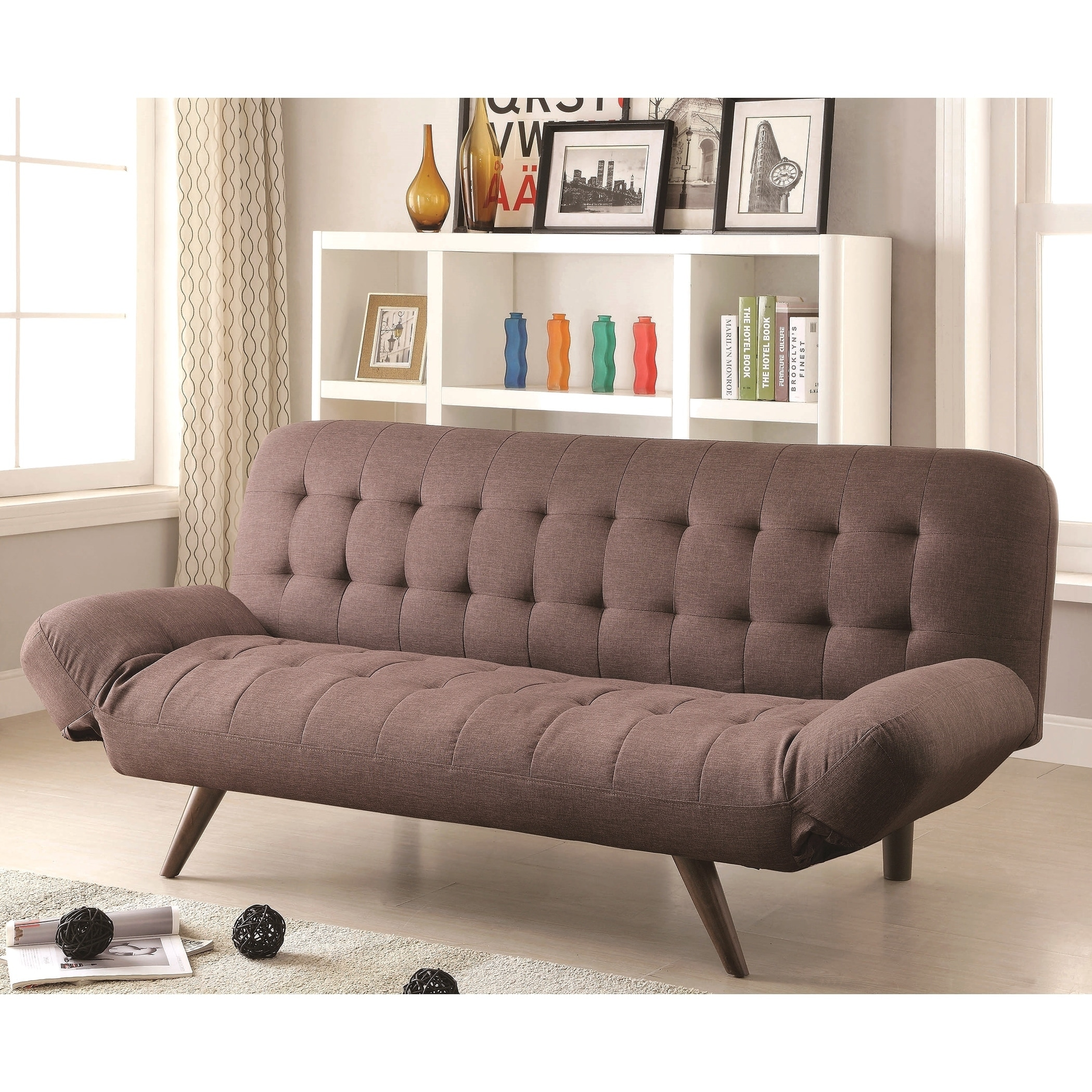 Mid-Century Modern Design Tufted Convertible Sofa Bed Futon