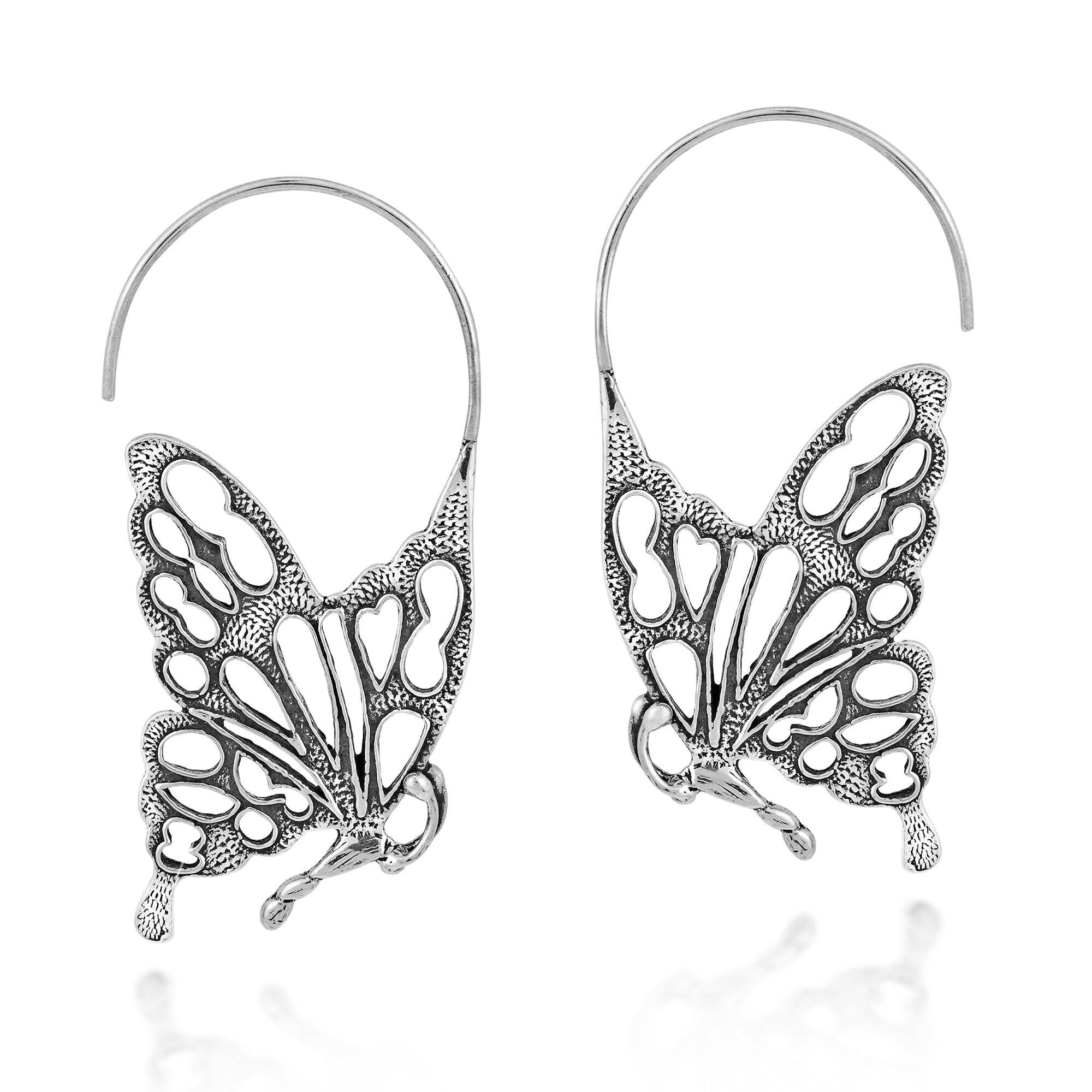 Medium Size Hand Forged Sterling Hoop Dangle Earrings
