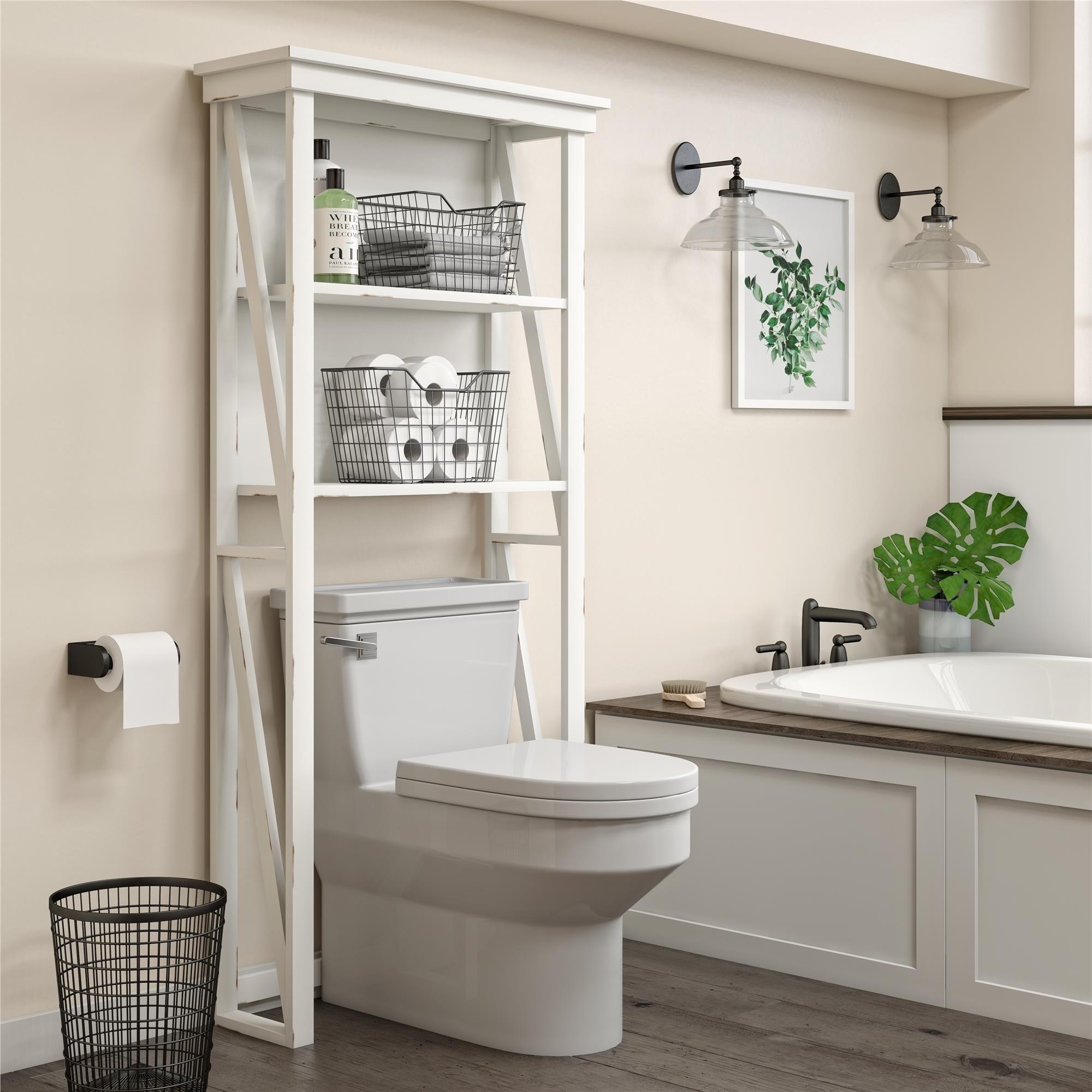 Avenue Greene Livingston White Over The Toilet Storage Cabinet Overstock 28527735