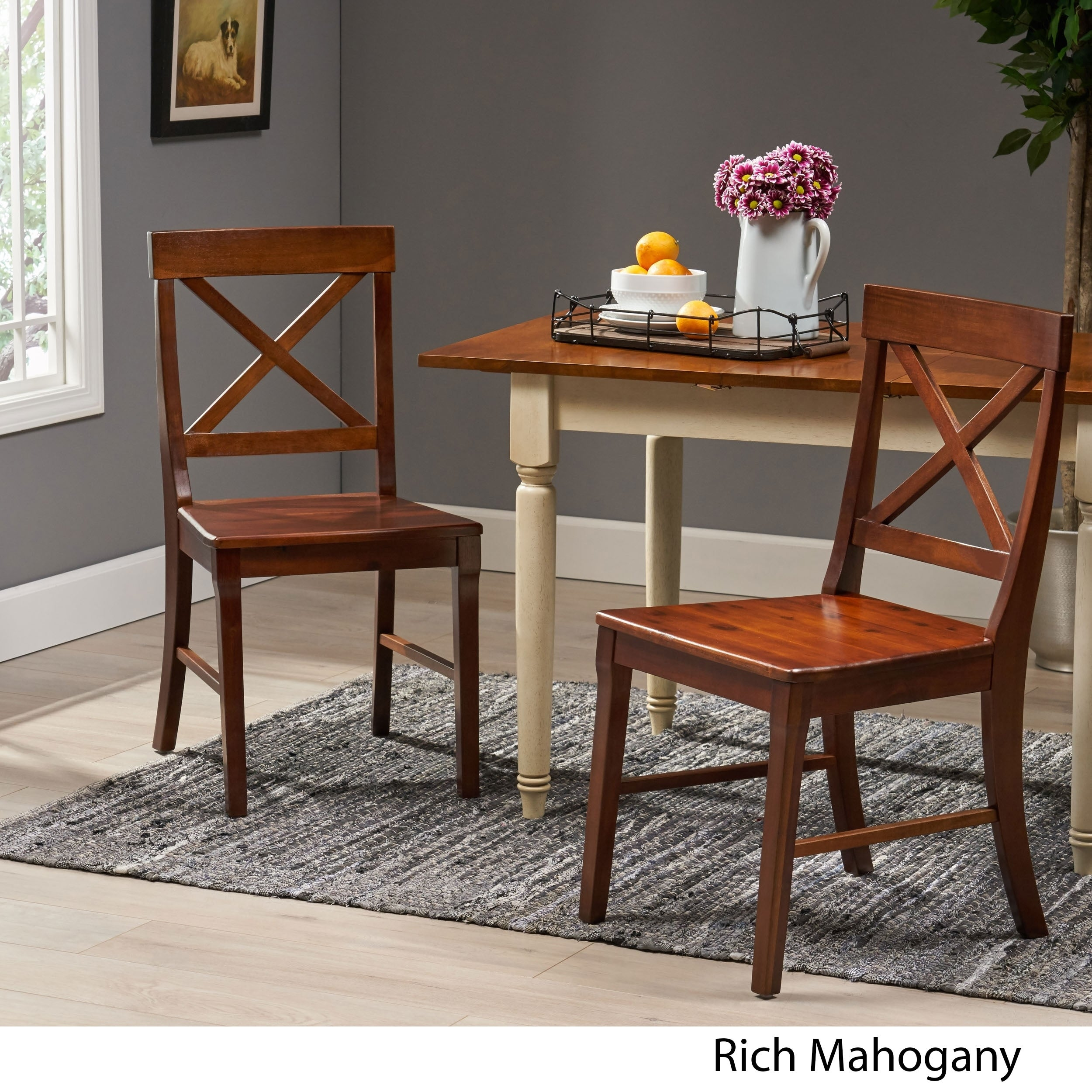 Bostwick Farmhouse Acacia Wood Dining Chairs Set Of 2 By Christopher Knight Home Overstock 28571303