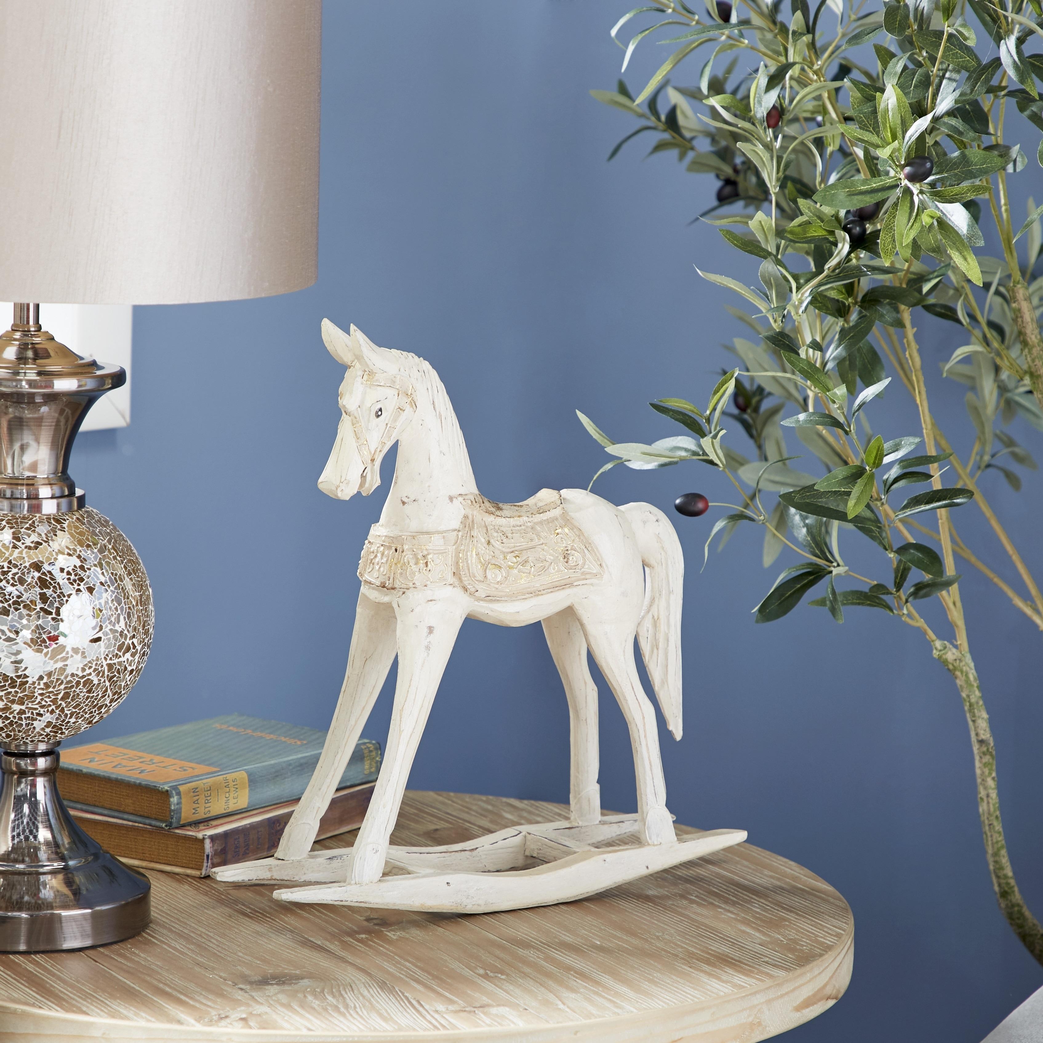 Porch Den Vintage Style Wooden Rocking Horse Sculpture On Sale Overstock 28588595
