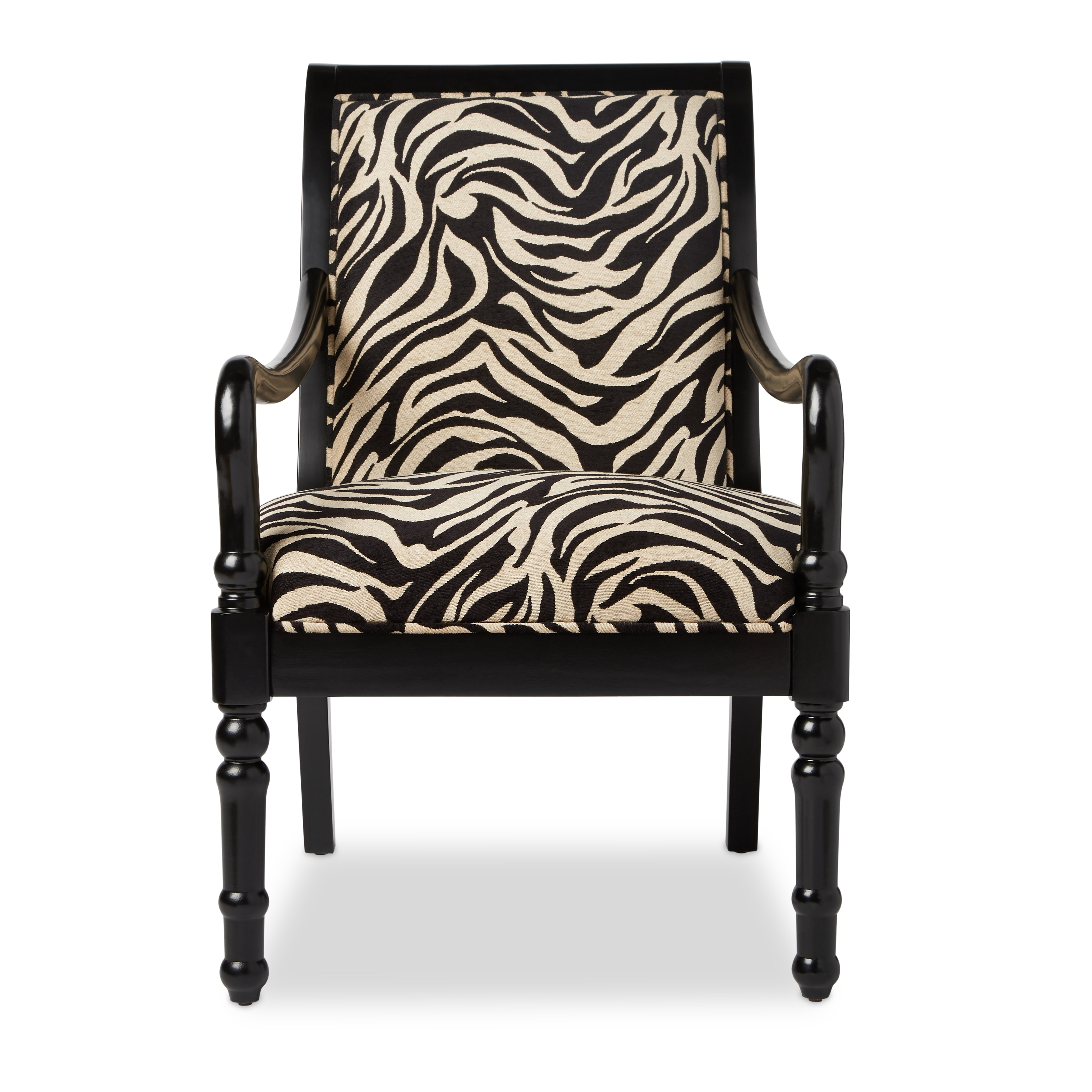 Turned Leg Zebra Print Arm Chair Free Shipping Today 11041790