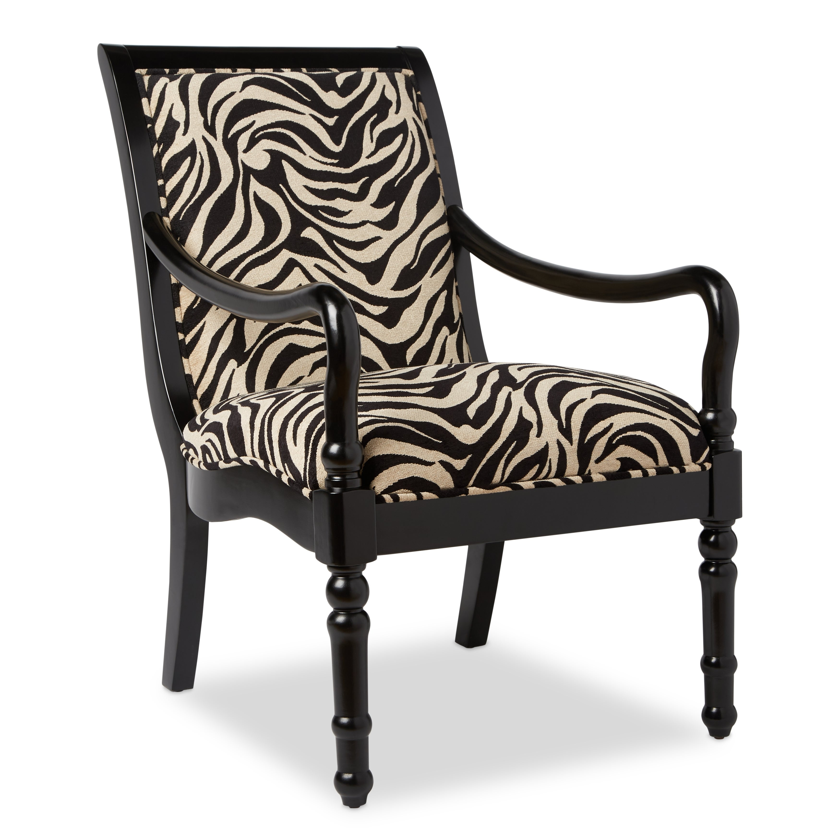 Attrayant Shop Turned Leg Zebra Print Arm Chair   Free Shipping Today   Overstock.com    2864946