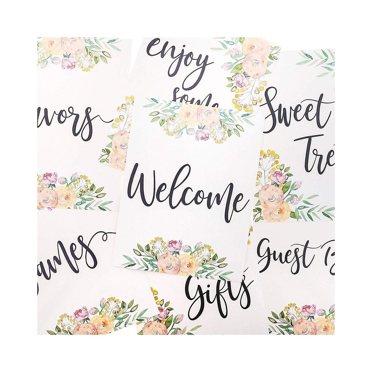 38243a9cbe33c 8-Pack Floral Baby Shower Signs for Table Decor and Party Decorations,  8.5