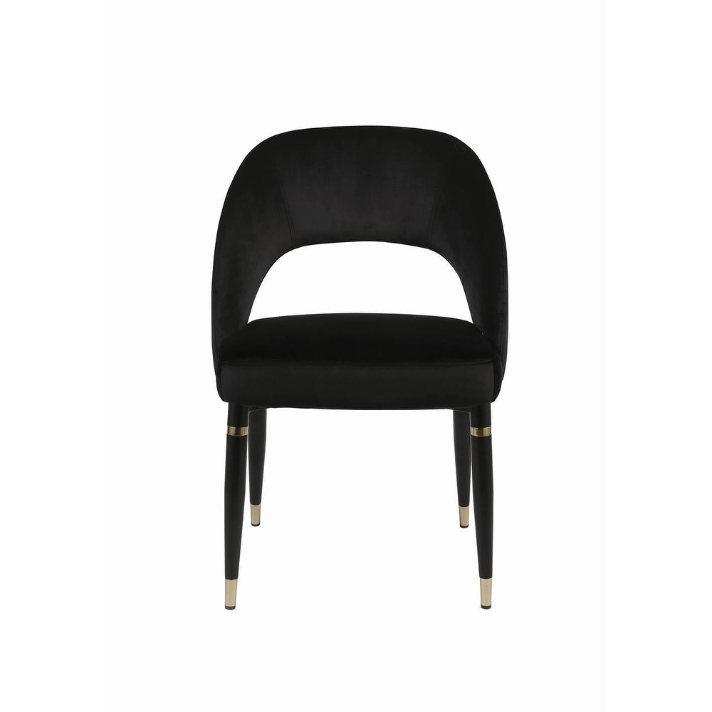 Clarence Contemporary Black Metal and Fabric Dining Chairs (Set of 2)