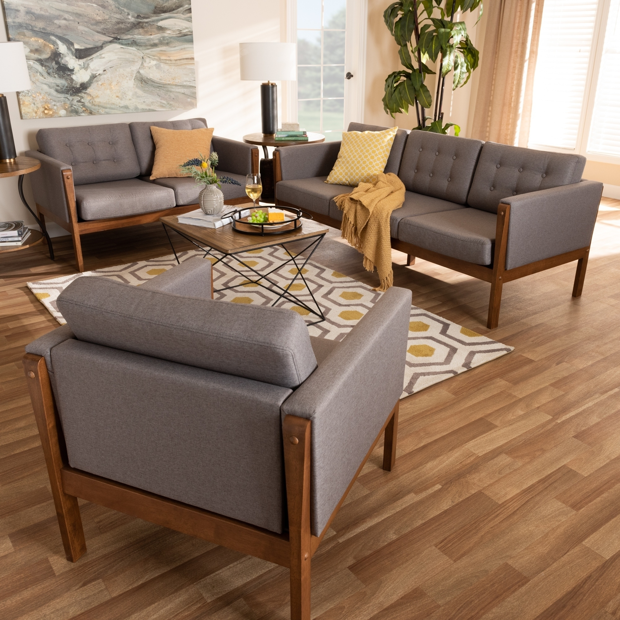 Lenne Mid-Century Modern Upholstered 11-Piece Living Room Set