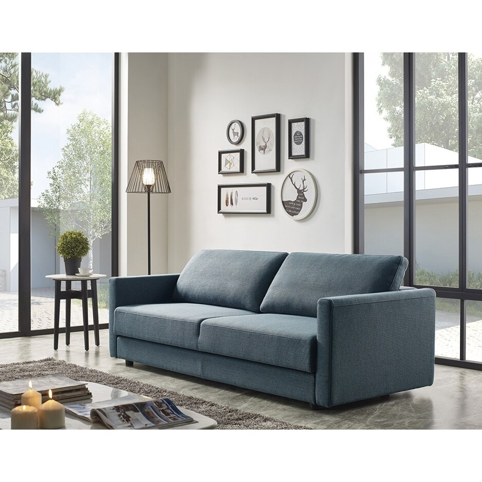 Divani Casa Fredonia Modern Blue-Green Fabric Sofa Bed w/ Storage