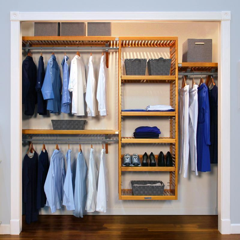 John Louis Home Deluxe 16 Inch Honey Maple Closet System   Free Shipping  Today   Overstock   11052322