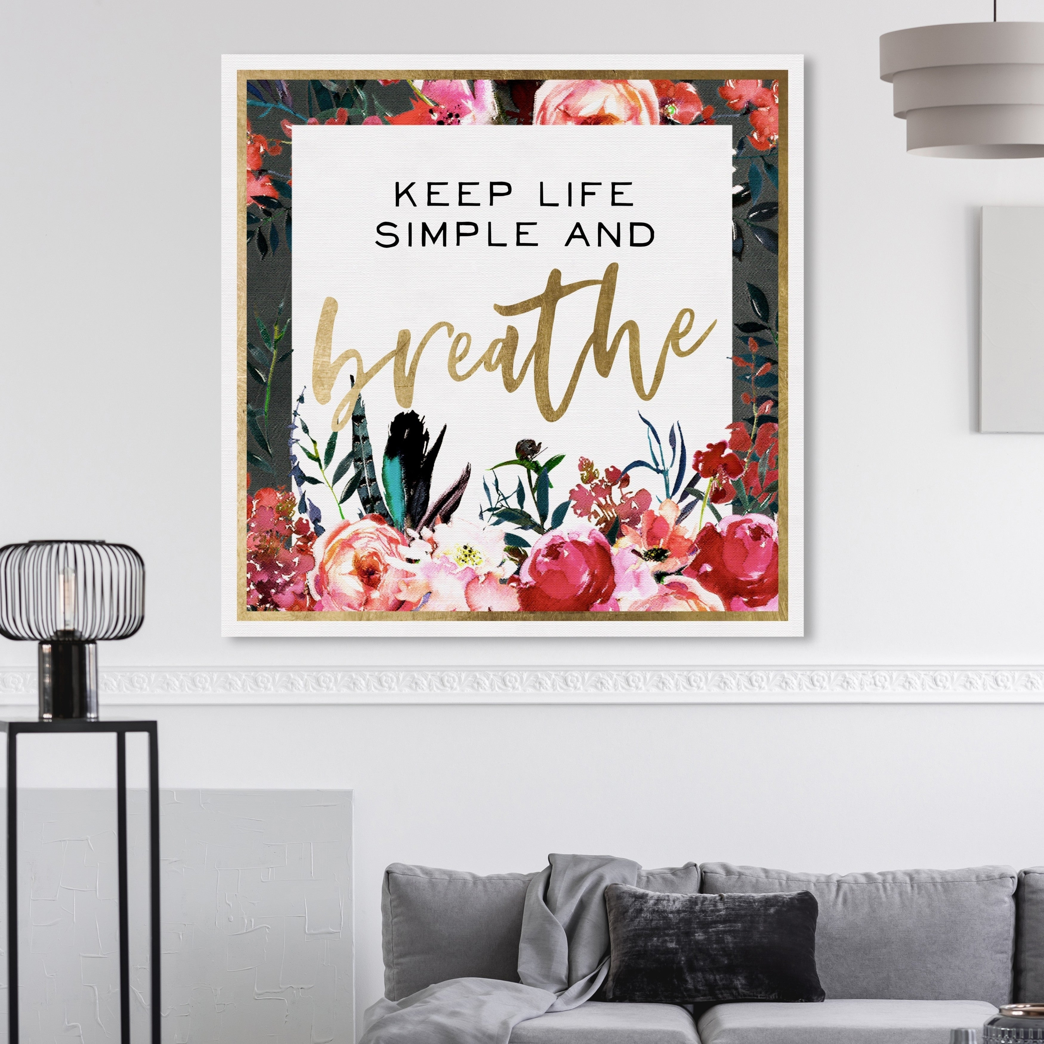 Oliver Gal 'Keep Life Simple Floral Gold' Typography and Quotes Wall Art  Canvas Print - Gold, Red