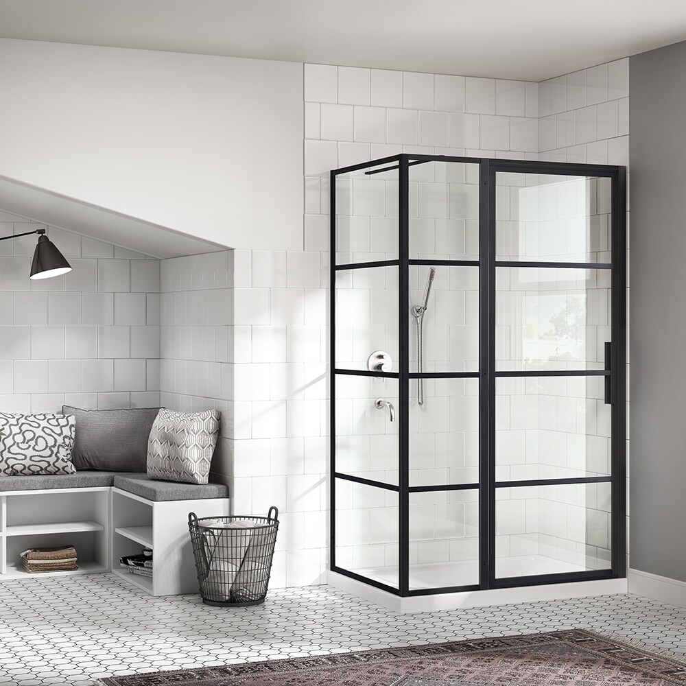 Ove Decors Milano 48x32 In Black Framed Hinges Shower Door With Sp