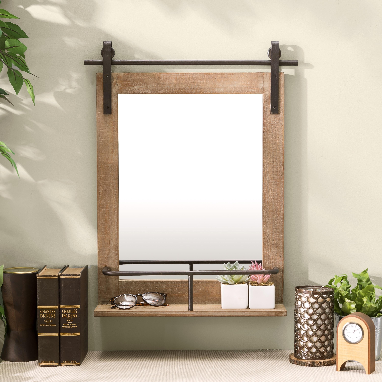 Danya B Rustic Barn Door Wall Vanity Mirror With Shelf Overstock 28981789
