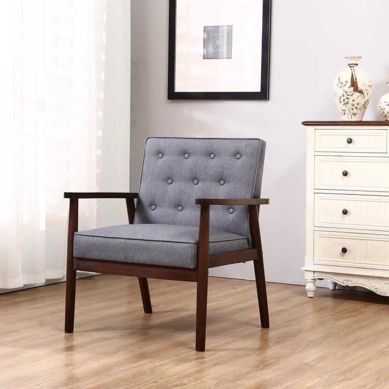 Retro Modern Fabric Upholstered Wooden Accent Chair Living Room Lounge Sofa
