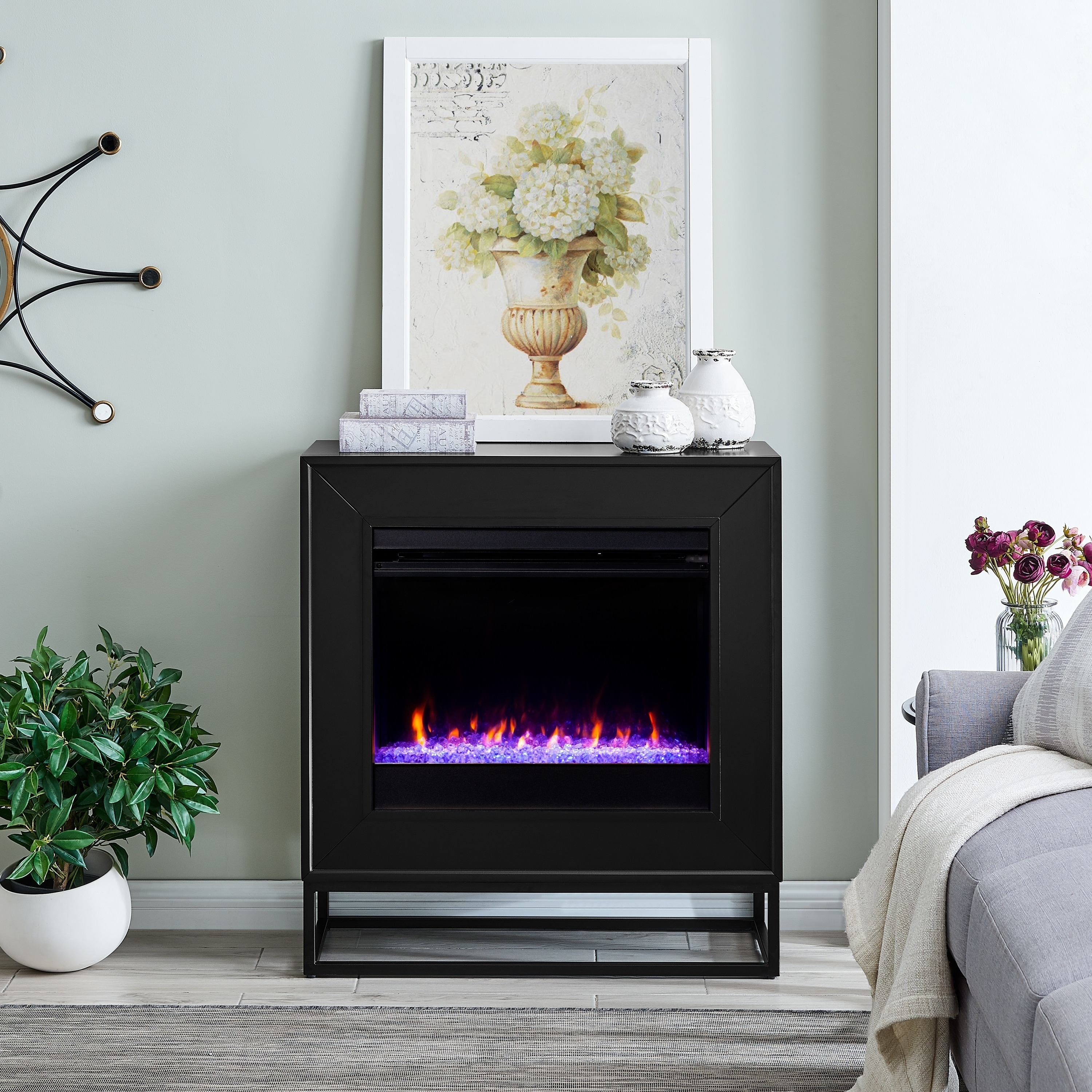 Shop Francis Contemporary Black Color Changing Led Fireplace On Sale Overstock 29236294
