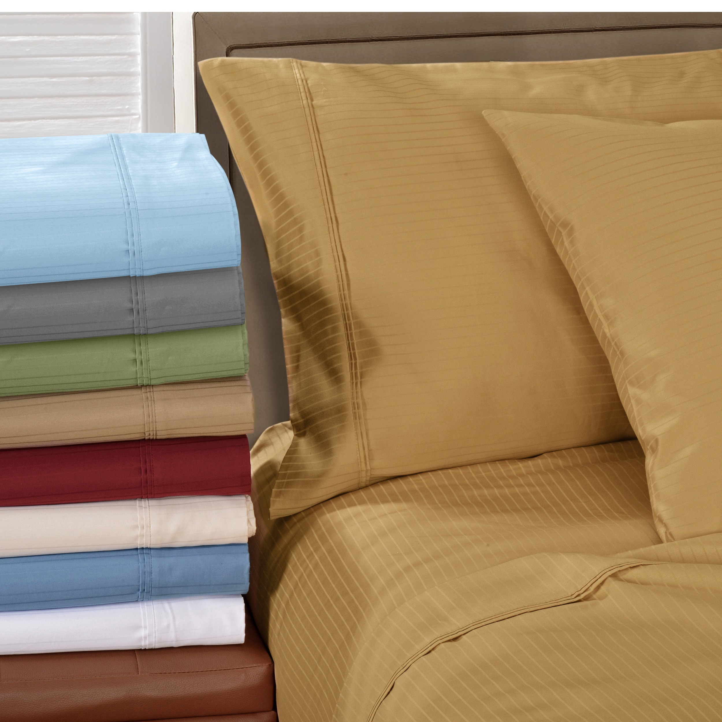 Superior Egyptian Cotton 1000 Thread Count Stripe Deep Pocket Sheet Set    Free Shipping Today   Overstock   11105733