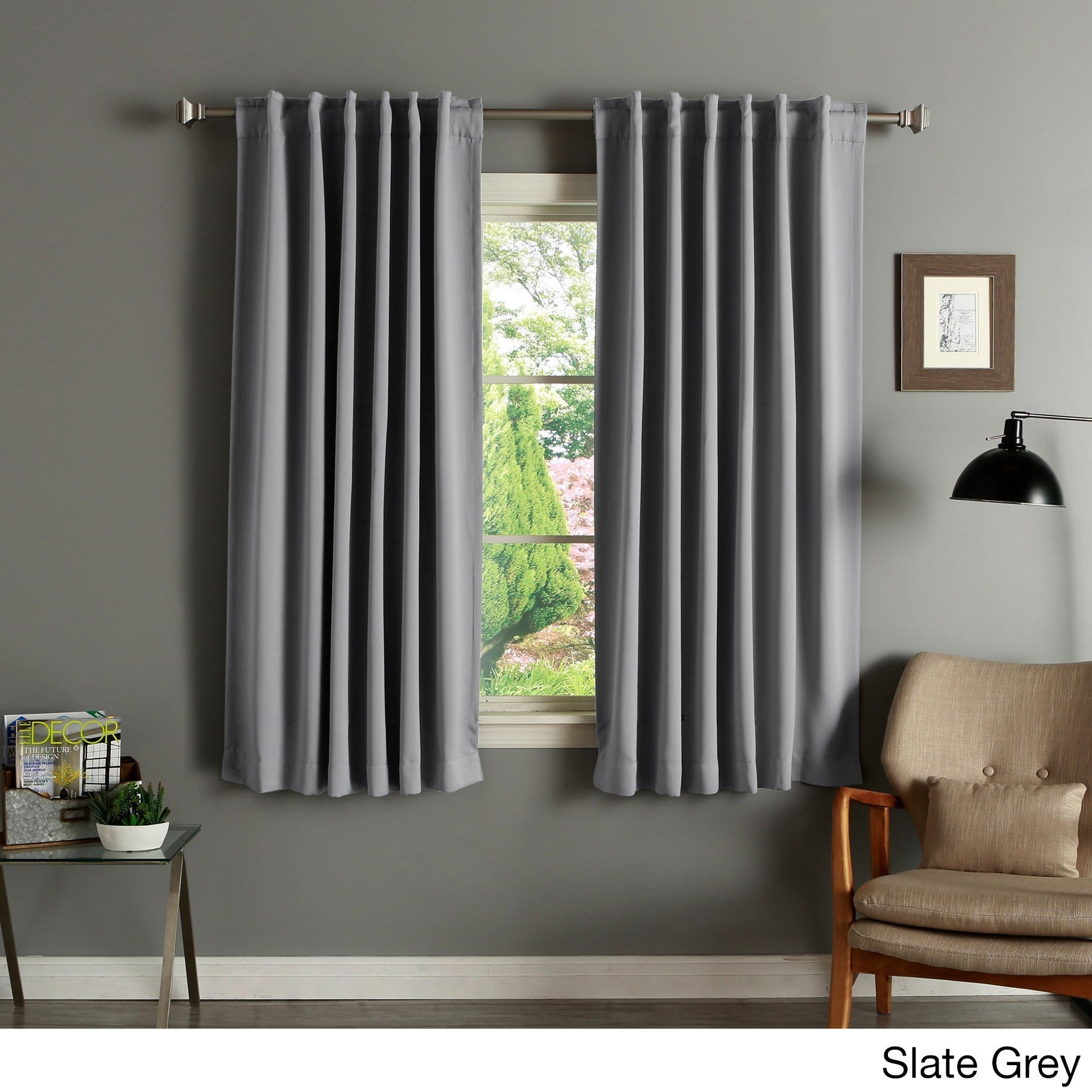 Shop Aurora Home Solid Insulated Thermal 63 Inch Blackout Curtain Panel Pair