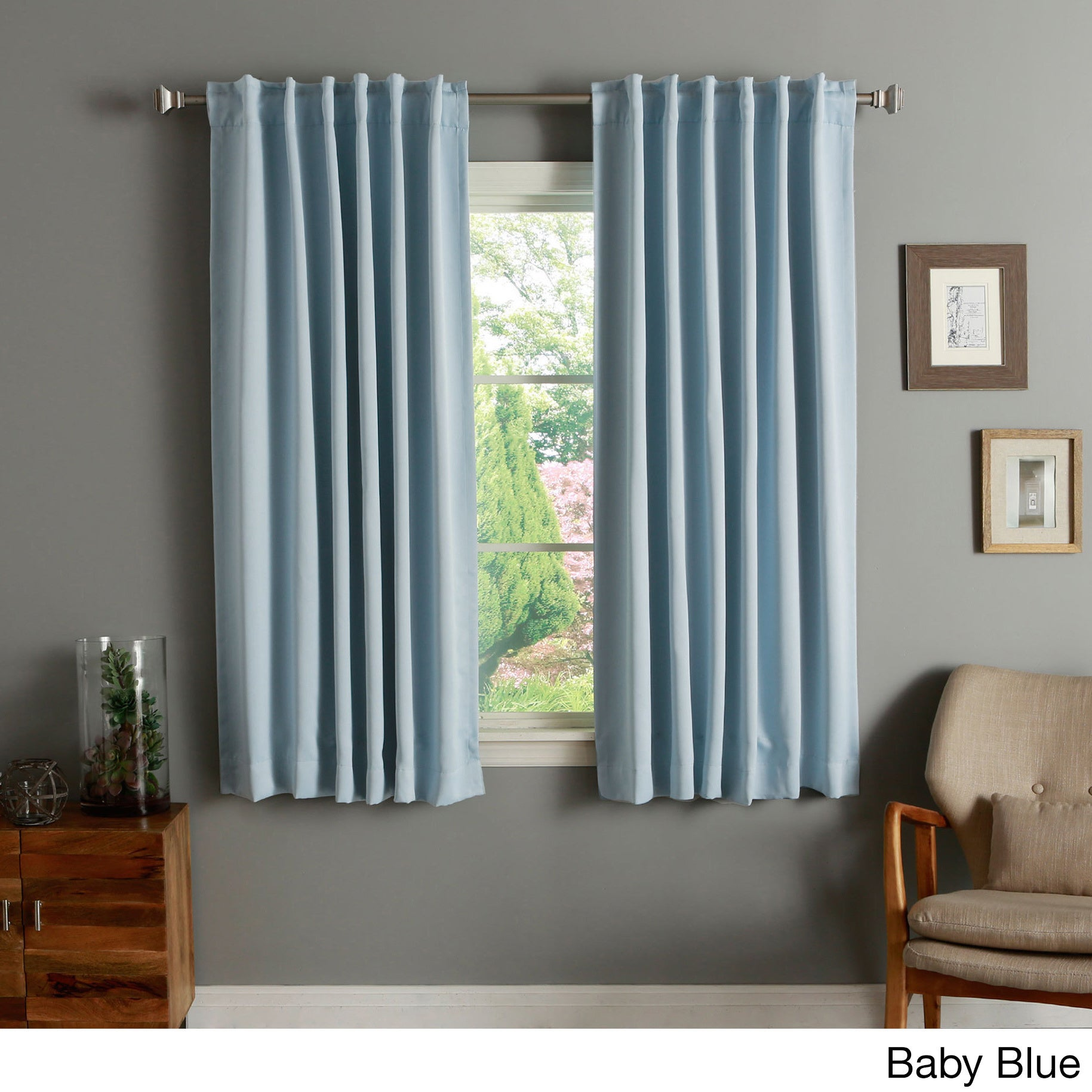 Aurora Home Solid Insulated Thermal 63 Inch Blackout Curtain Panel Pair On Free Shipping Today 2946006