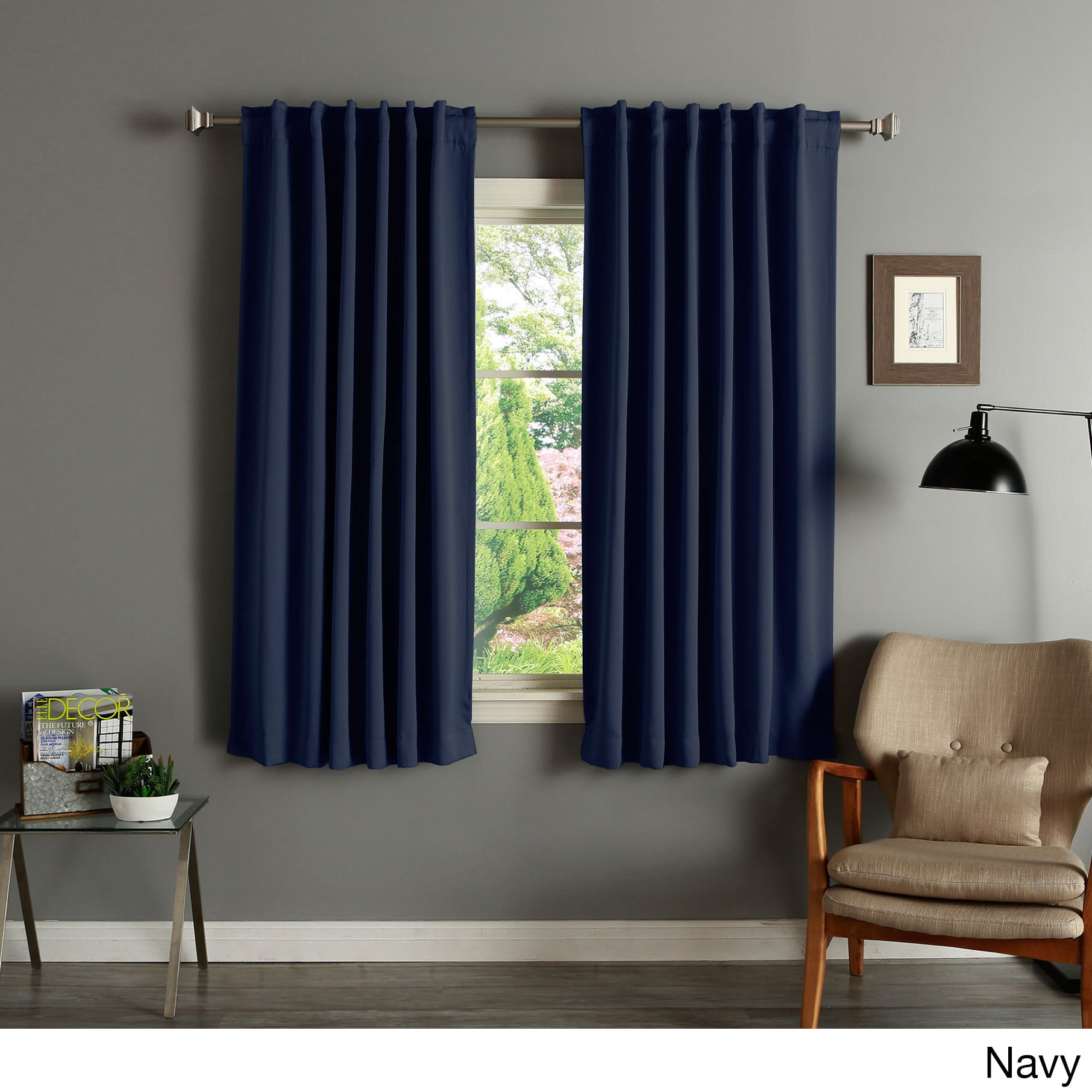 Shop Aurora Home Solid Insulated Thermal 63 Inch Blackout Curtain Panel Pair On Sale Free Shipping Today Overstock 2946006