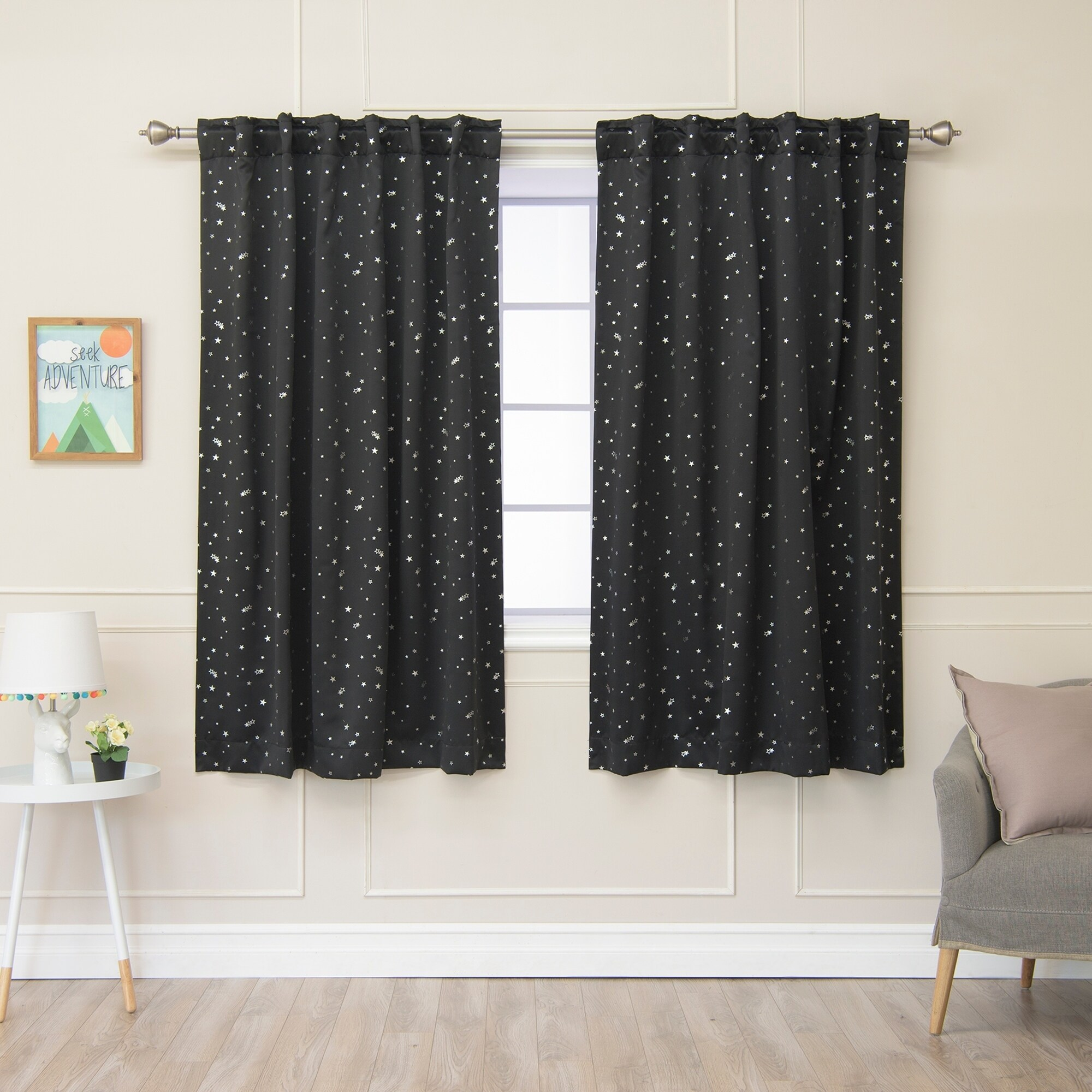 Shop Aurora Home Star Struck Insulated Thermal Blackout 63 Inch Curtain Panel Pair