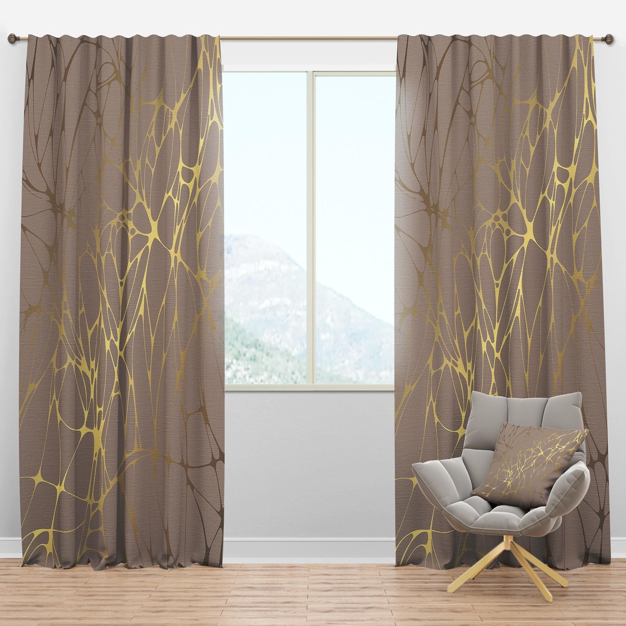 Image of: Shop Designart Golden Marble Design Ii Mid Century Modern Curtain Panel Overstock 29625841