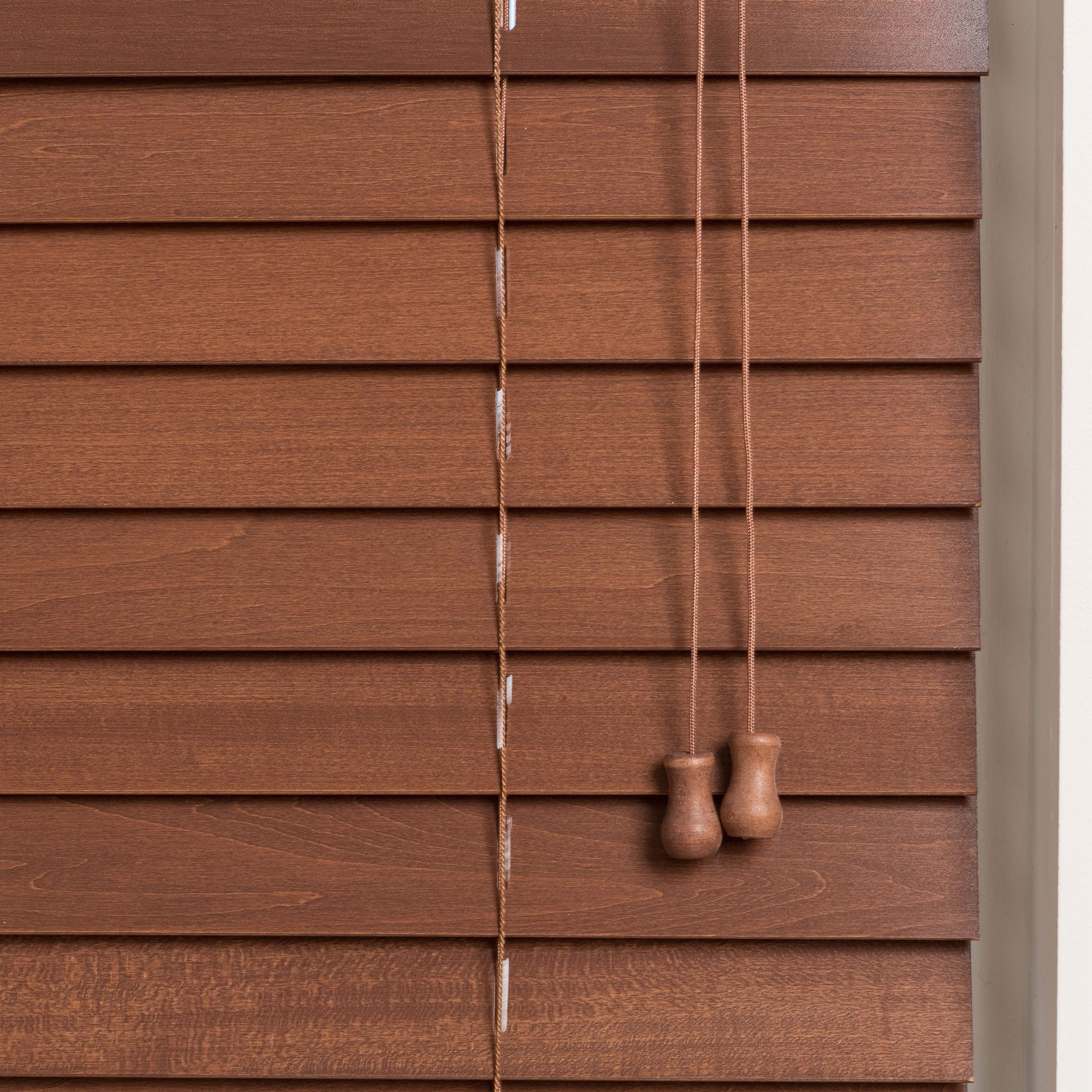 wooden customized safe real wood pin inch window size grip brown blinds er