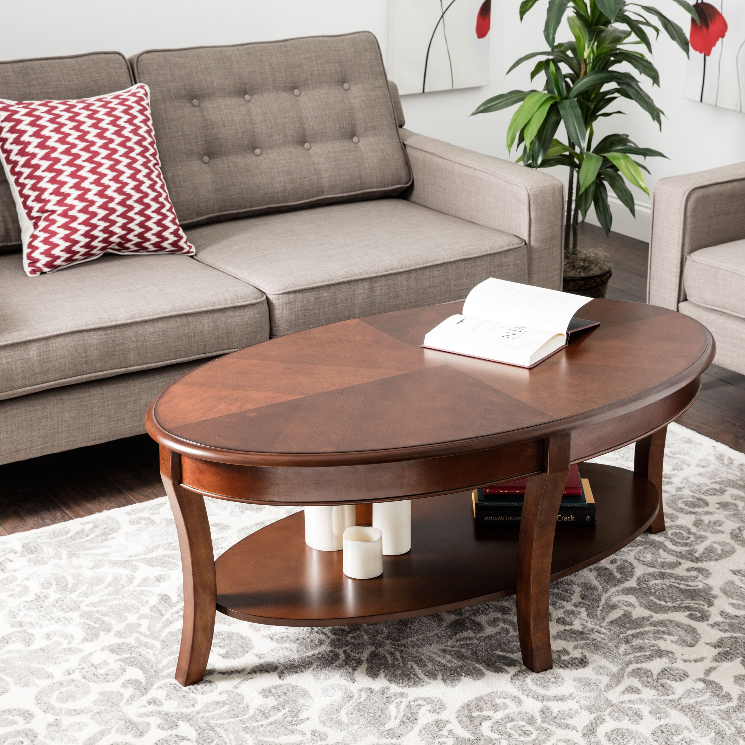 Gracewood Hollow Oval Walnut Coffee Table Free Shipping Today