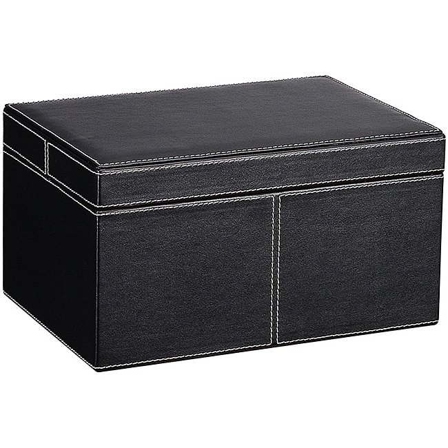 Ebony Faux Leather Small Storage Box with Lid  sc 1 st  Overstock.com & Shop Ebony Faux Leather Small Storage Box with Lid - Free Shipping ...