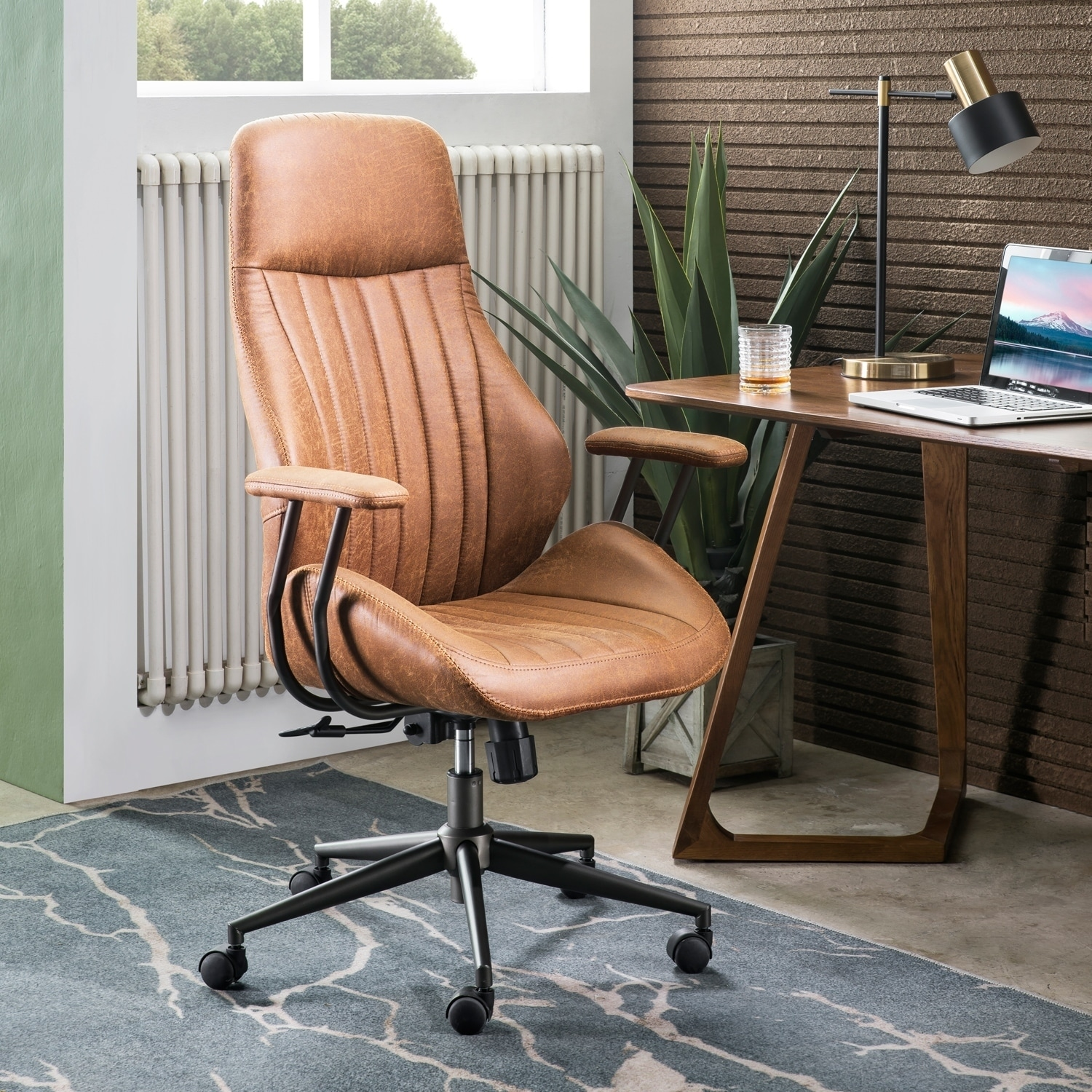OVIOS Ergonomic Office Chair Modern Computer Desk Chair high Back Suede Fabric Desk Chair with Lumbar Support - On Sale - Overstock - 30234960
