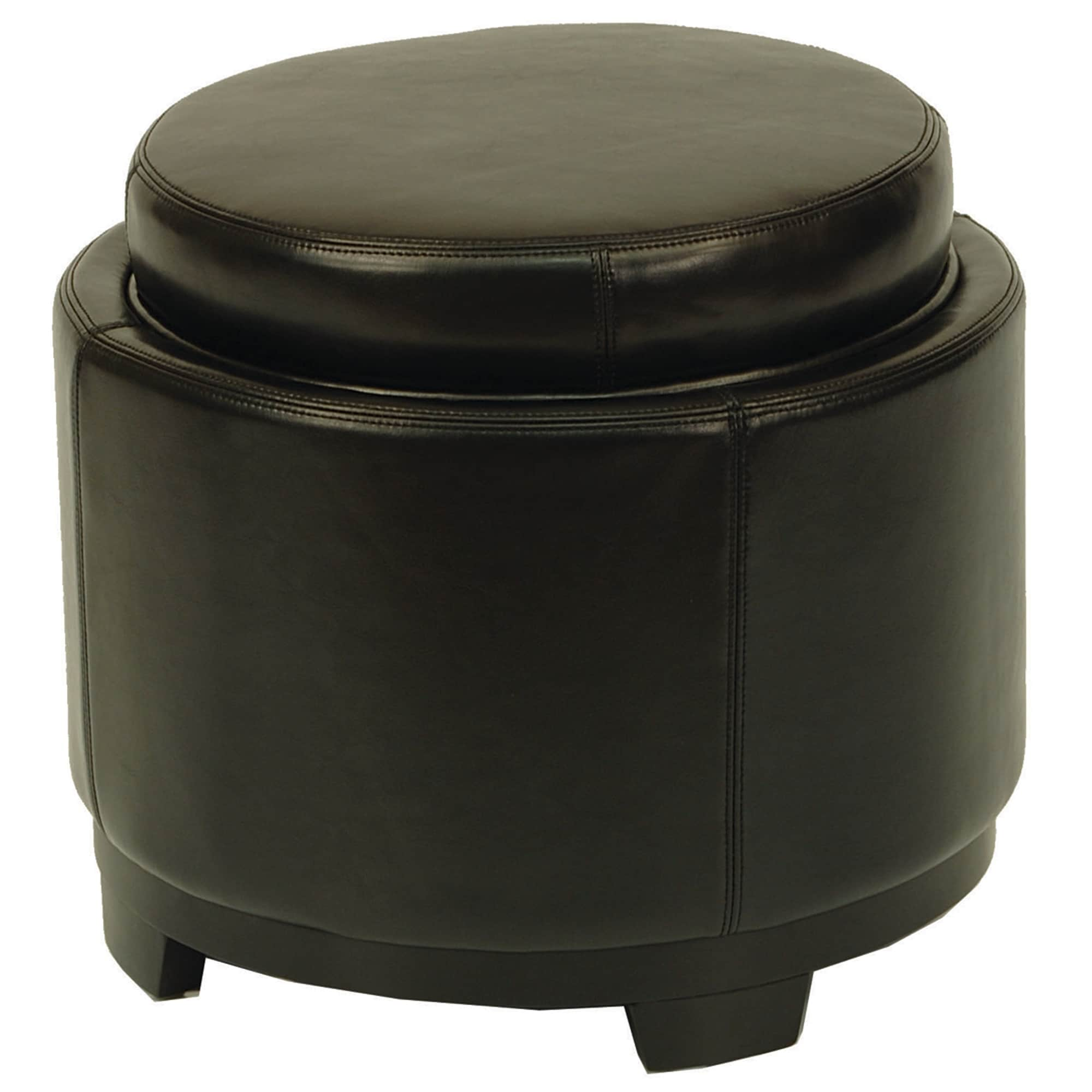 Merveilleux Shop Safavieh Round Black Ottoman With Storage Tray   Free Shipping Today    Overstock.com   3038951