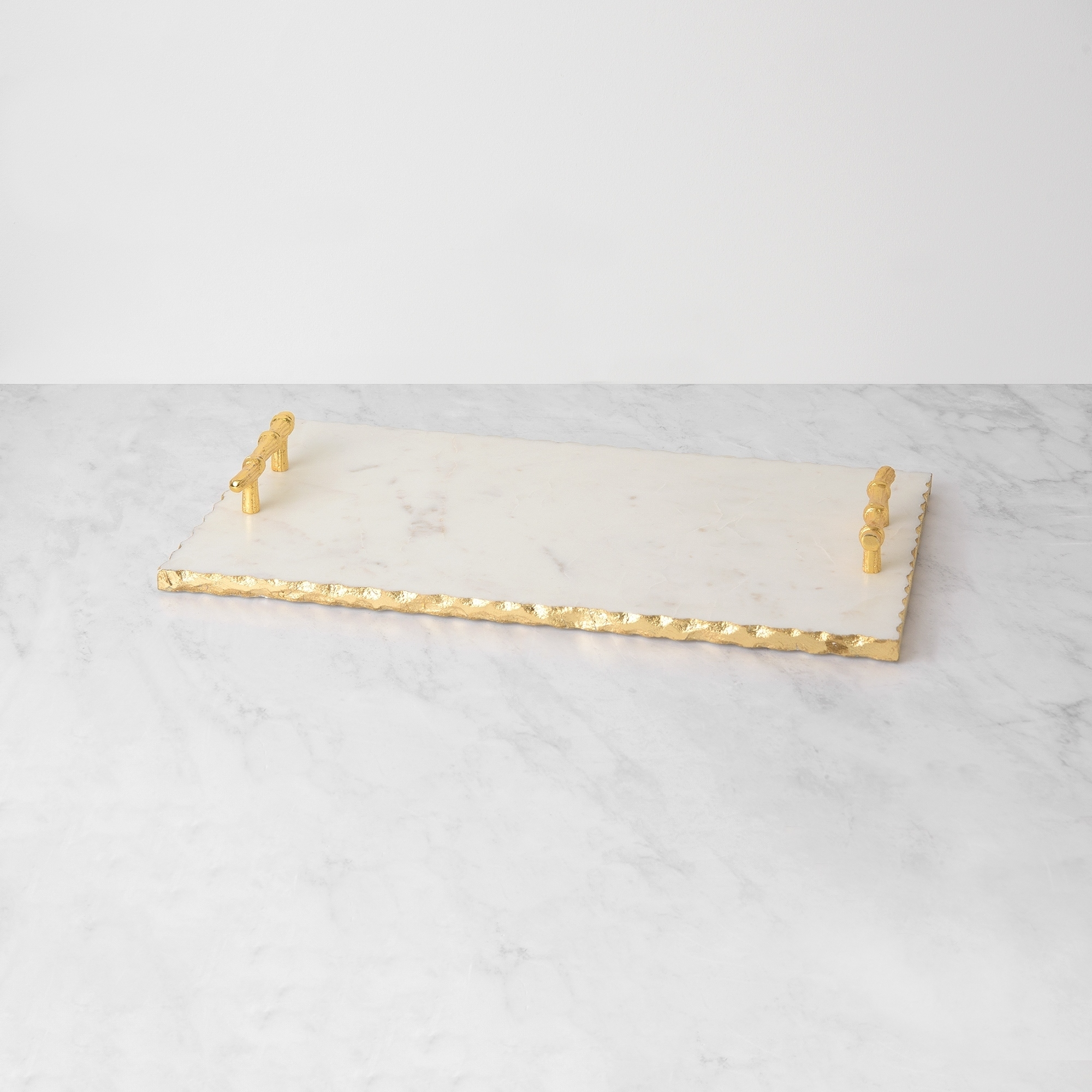 Aurora Home White Marble Tray With Gold Foil Edge And Handles Overstock 30587090