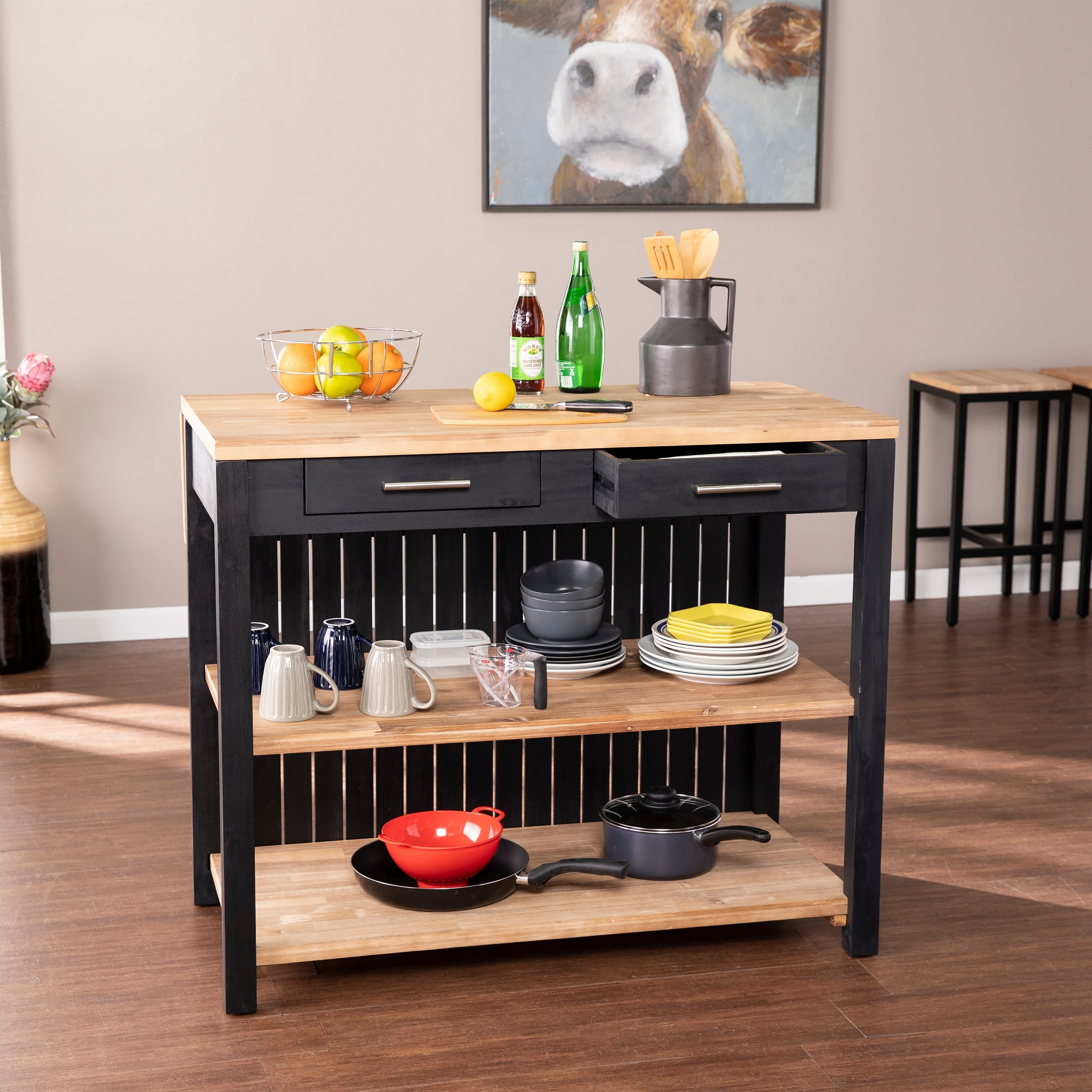 Picture of: Copper Grove Berhill Transitional Black Wood Expandable Kitchen Island Overstock 30678289