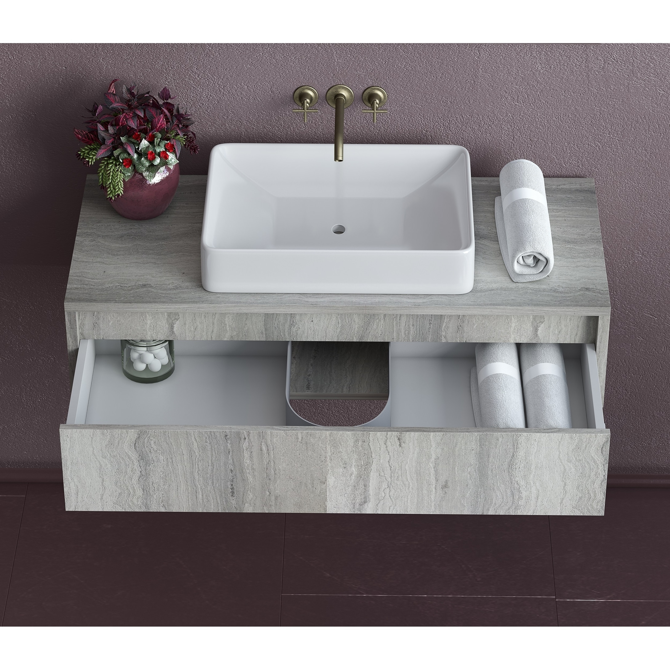 36 Inch Floating Oak Bathroom Vanity Sink Set Grey Oak With White Vessel Sink Overstock 30740266