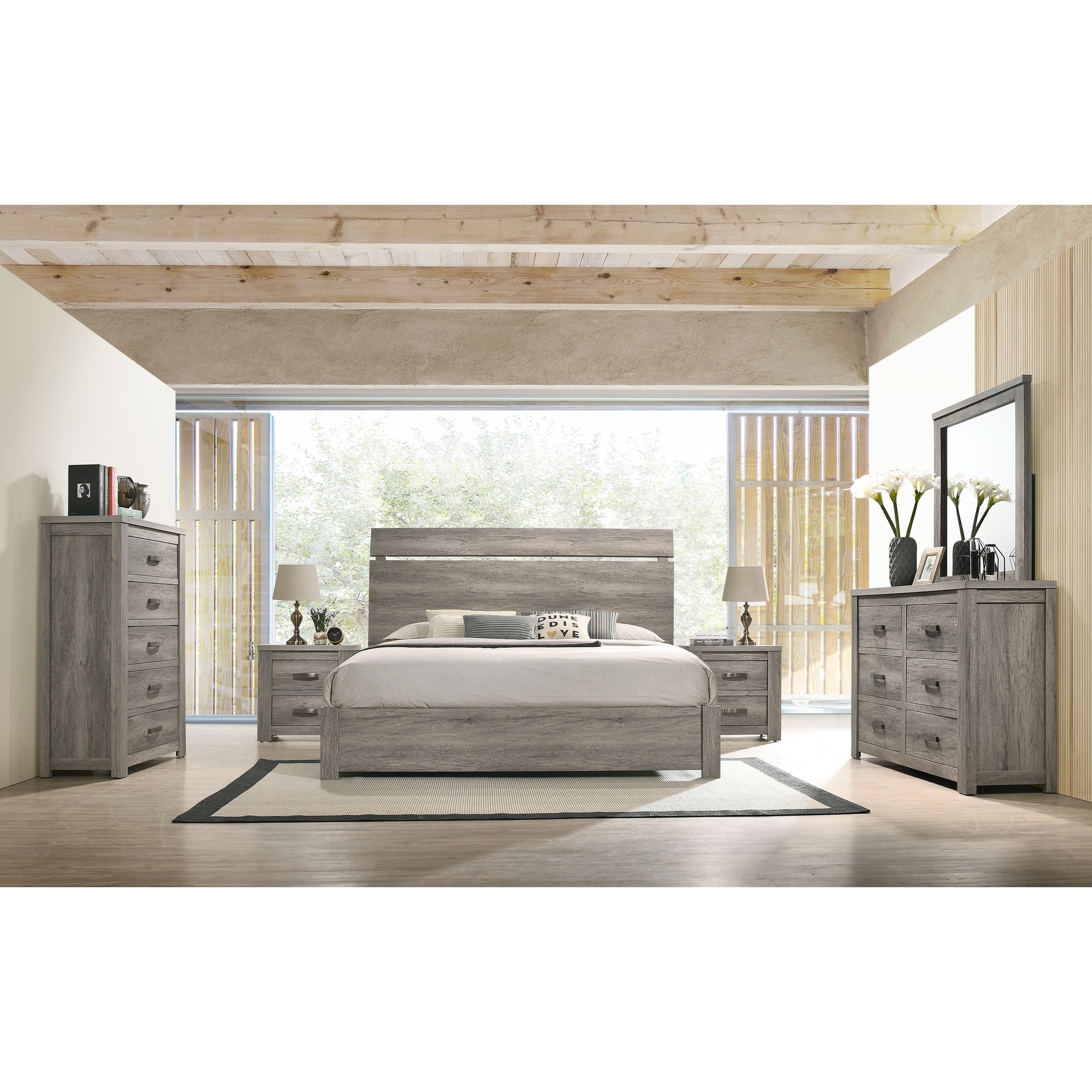 The Gray Barn Rousham Garden Weathered Grey Wood 12-piece Bedroom Set