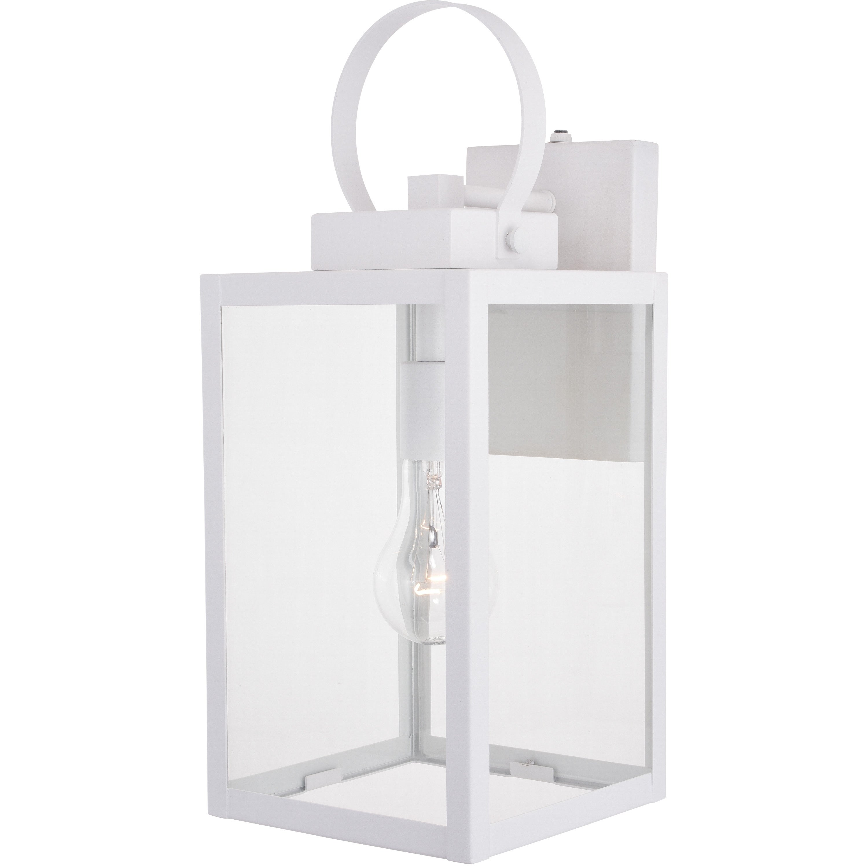 Medinah 1 Light Dusk To Dawn White Outdoor Wall Lantern Clear Glass Overstock 31072949