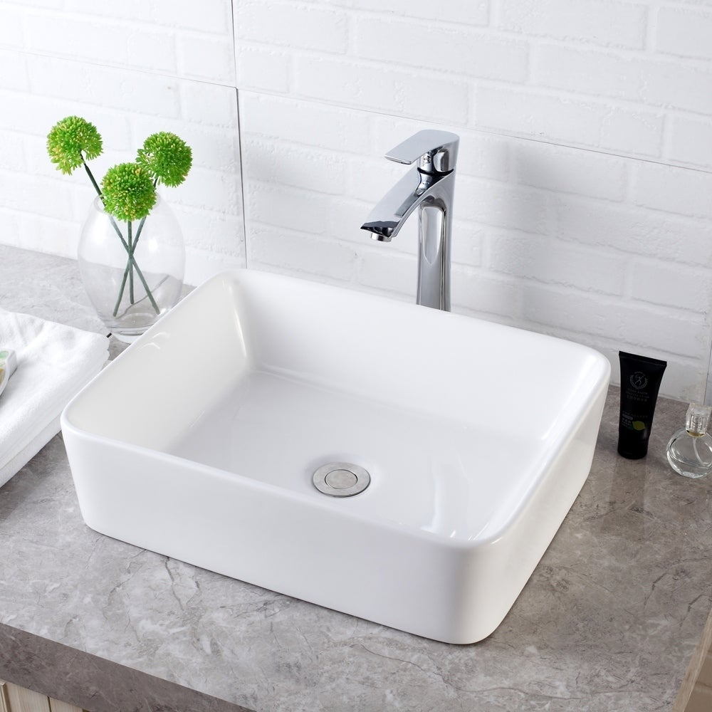 16x12 Inch Rectangle White Ceramic Bathroom Vessel Sink Overstock 31126660