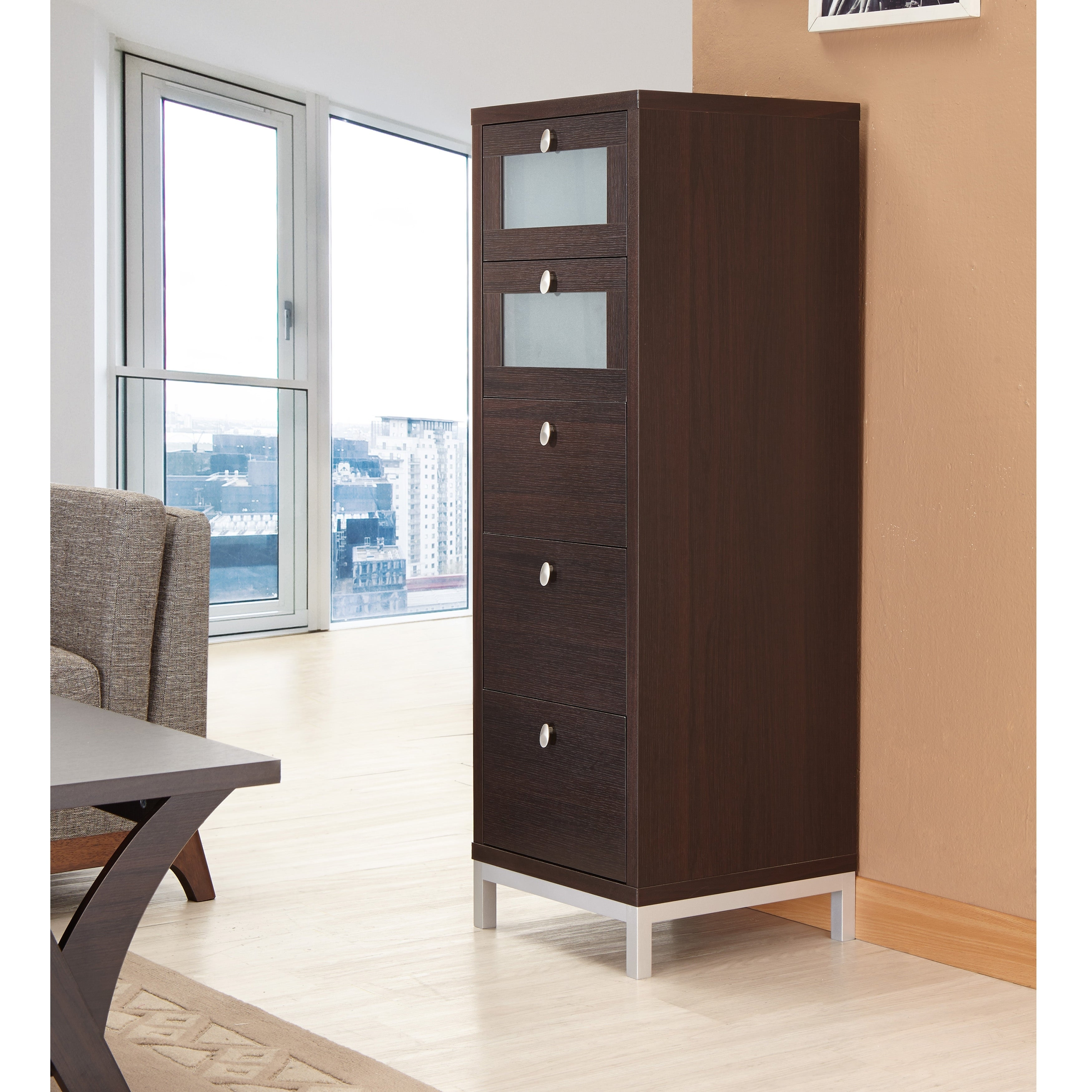 Contemporary walnut 5 drawer storage cabinet by foa