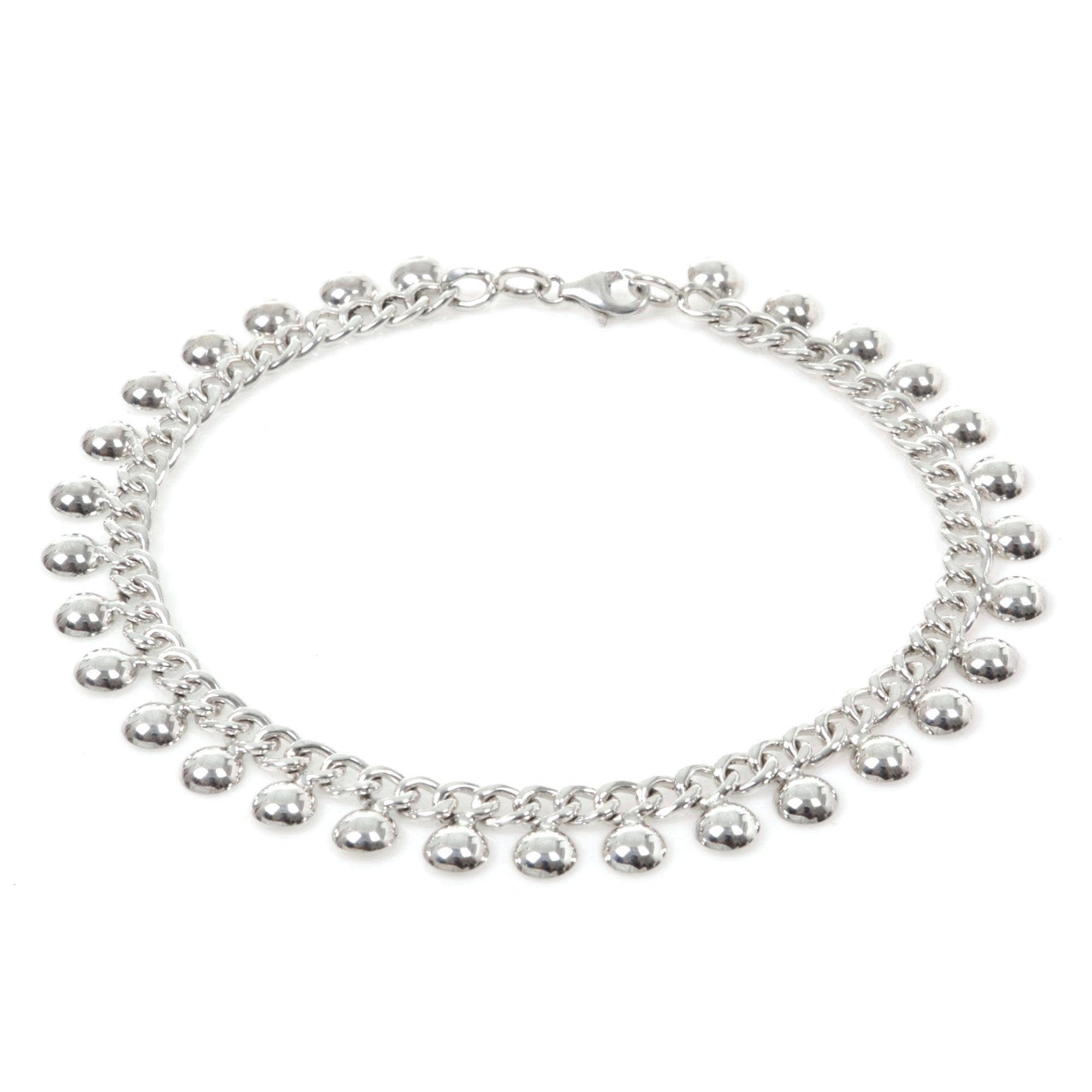 e2300194563 Palace Charms Lobster Claw Clasp Link Bracelet with Dangling Ball Charms  925 Sterling Silver Ankelet