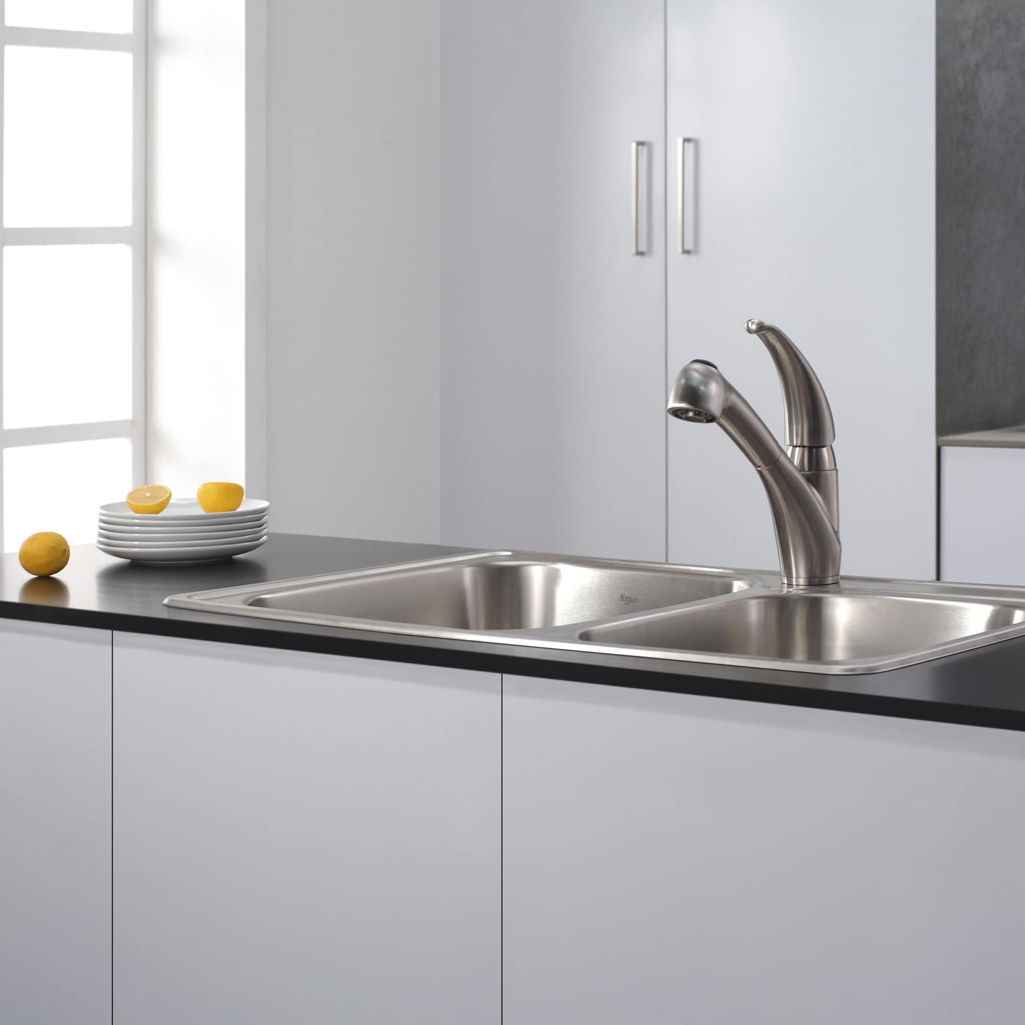 KRAUS Single-Handle Solid Stainless Steel Kitchen Faucet with Pull Out  Dual-Function Sprayer - Free Shipping Today - Overstock.com - 11273789