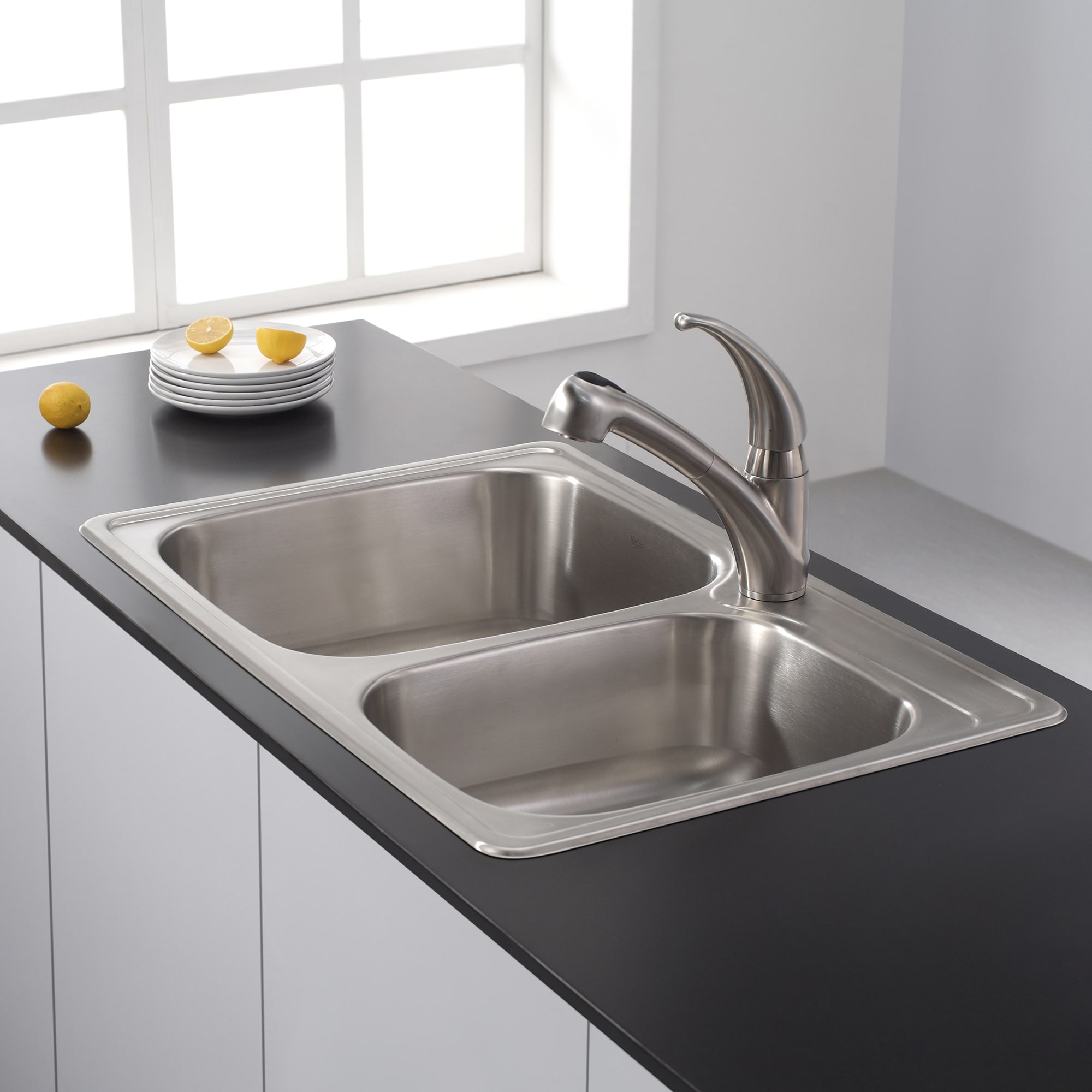 Shop KRAUS Single-Handle Solid Stainless Steel Kitchen Faucet with ...
