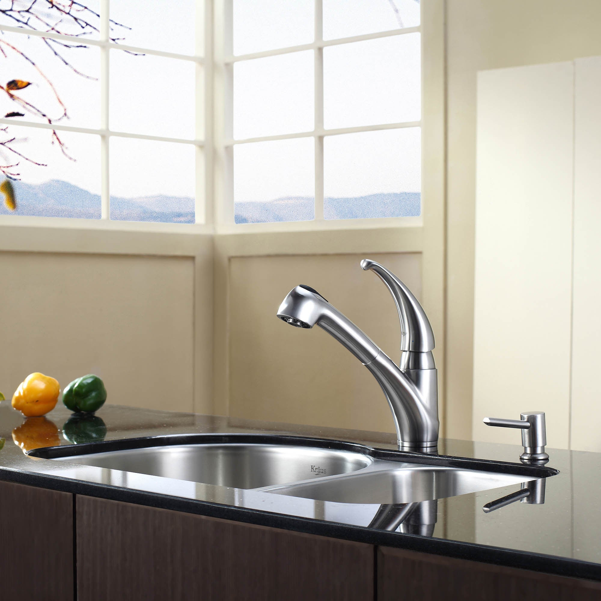 KRAUS Single Handle Solid Stainless Steel Kitchen Faucet with Pull